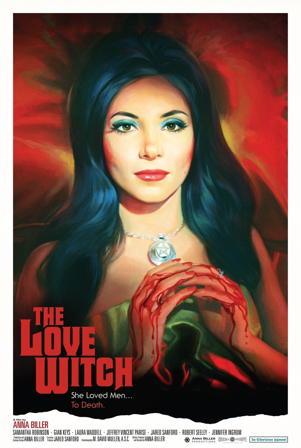 The Love Witch (2016) - Directed by: Anna BillerStarring: Samantha Robinson, Jeffrey Vincent Parise, Laura WaddellRated: NR (Best Guess: R)Running Time: 2hTMM Score: 5 Stars (loved it)STRENGTHS: Production Design, Dreamy Retro VibesWEAKNESSES: Slightly Longer than Necessary