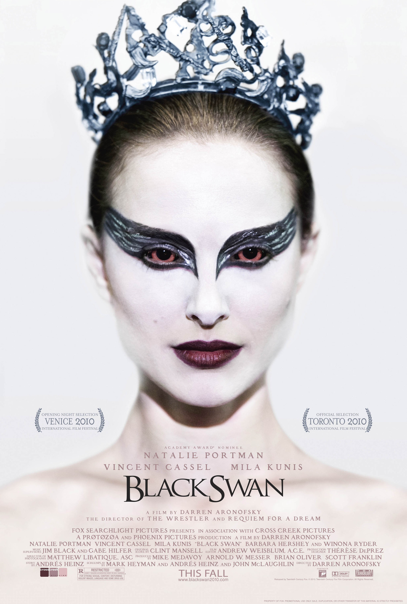 Black Swan (2010) - Directed by: Darren AronofskyStarring: Natalie Portman, Mila Kunis, Vincent CassellRated: RRunning Time: 1h 48mTMM Score: 5 Stars (loved it)STRENGTHS: Acting, CinematographyWEAKNESSES: Weak Dialogue in Moments