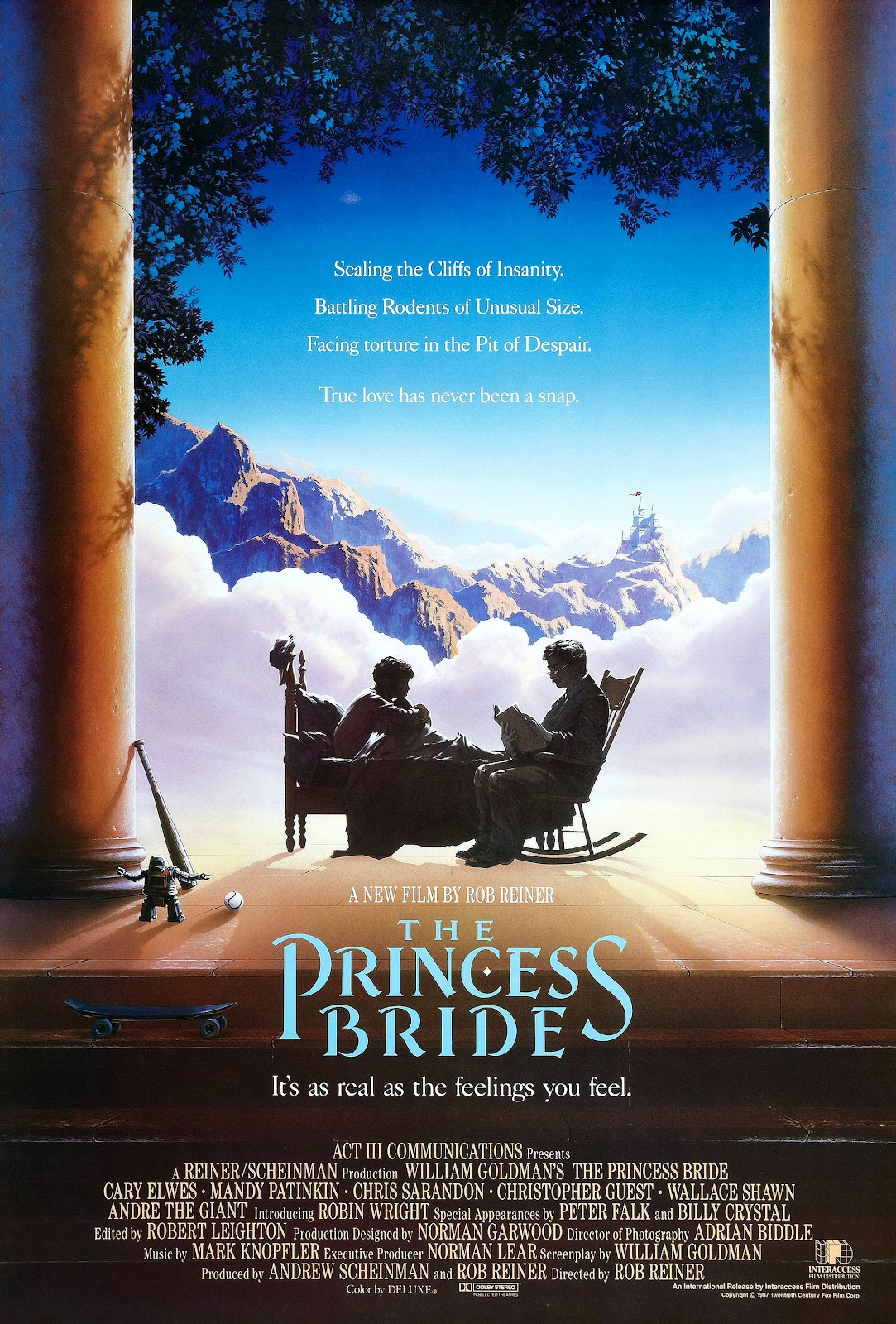 The Princess Bride (1988) - Directed by: Rob ReinerStarring: Robin Wright, Mandy Patinkin, Cary Elwes, Andre The Giant, Wallace Shawn, Christopher Guest, Chris Sarandon, Fred Savage, Peter Falk, Billy CrystalRated: PGRunning Time: 1 h 38 mTMM Score: 5 stars out of 5STRENGTHS: Pretty Much EverythingWEAKNESSES: -