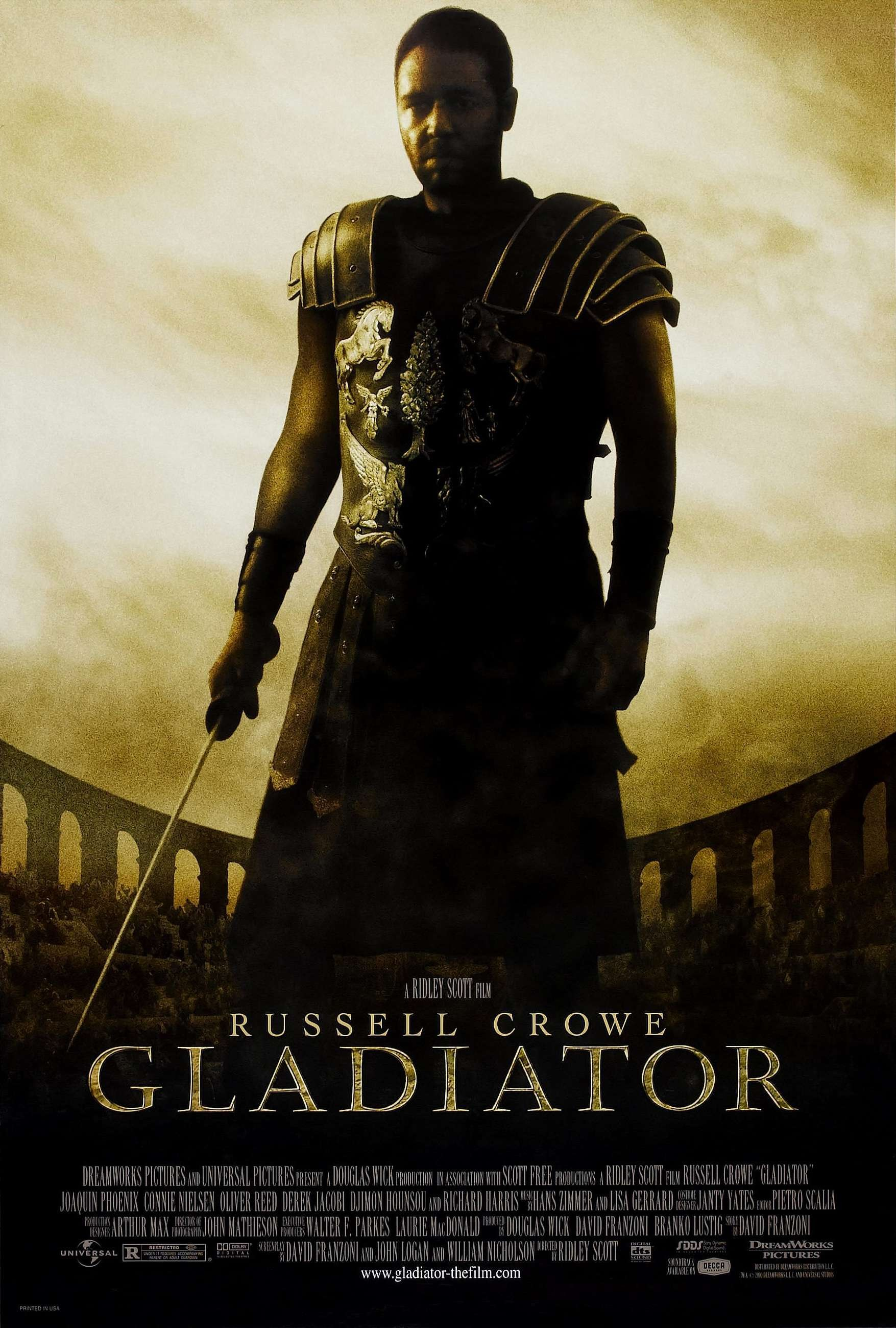 Gladiator (2000) - Directed by: Ridley ScottStarring: Russell Crowe, Joaquin Phoenix, Richard Harris, Connie NielsonRated: RRunning Time: 2h 35mTMM Score: 5 Stars (Loved It)STRENGTHS: Production, Acting, SpectacleWEAKNESSES: Final Speech/Ending