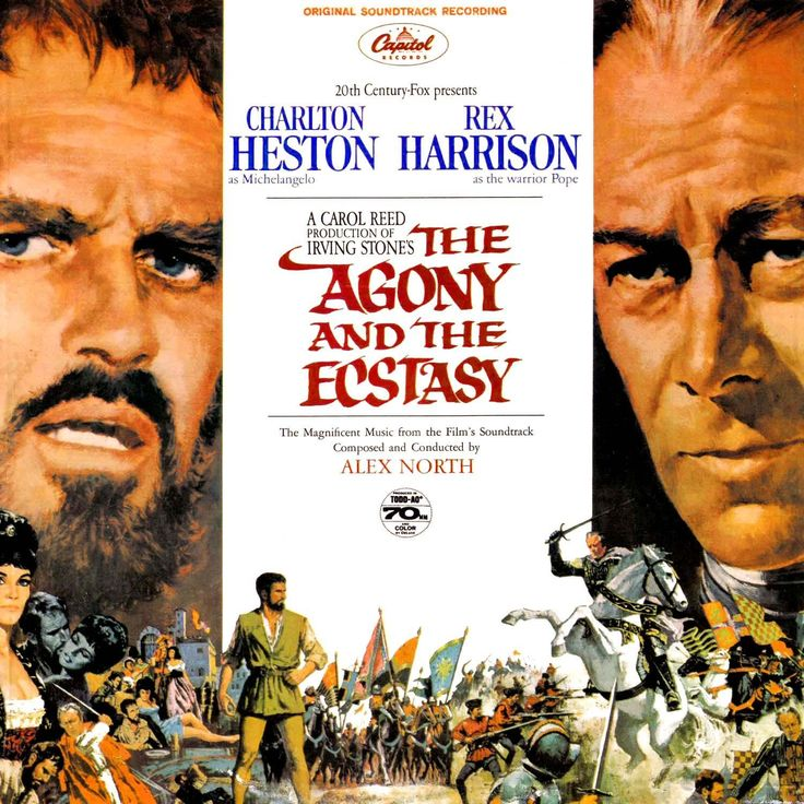 The Agony and the Ecstasy (1965) - Directed by: Carol ReedStarring: Charlton Heston, Rex HarrisonRated: NR (PG best guess)Running Time: 2h 18mTMM Score: 3 StarsSTRENGTHS: Production DesignWEAKNESSES: Acting
