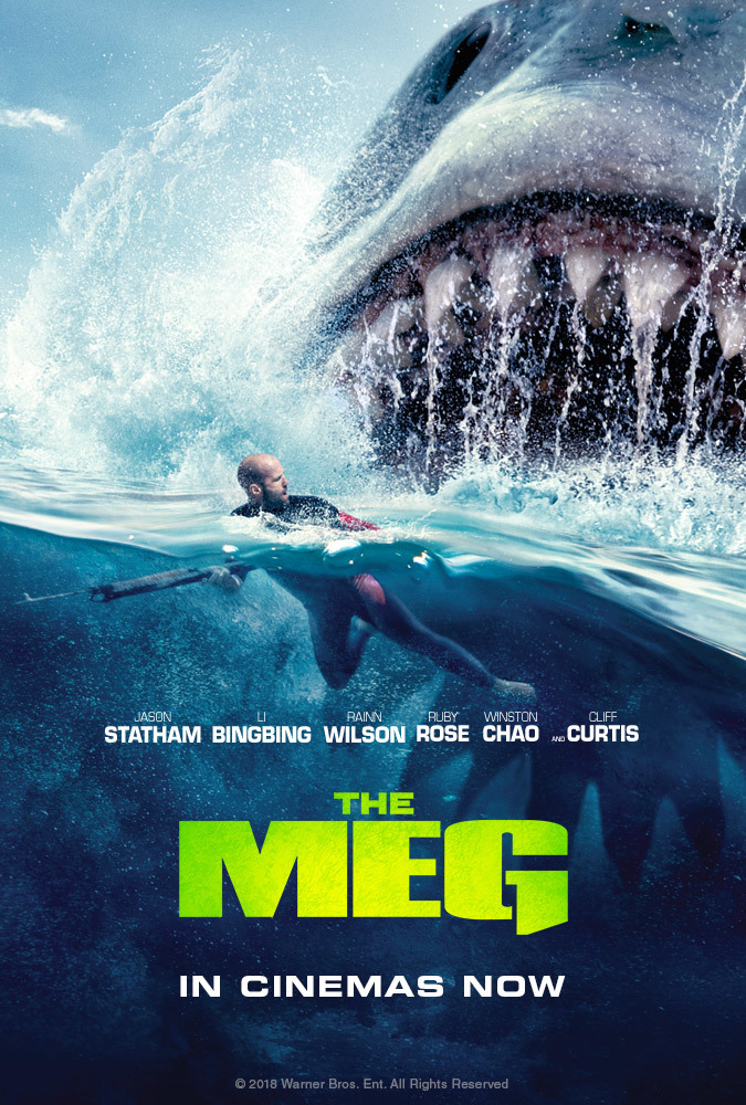 The Meg (2018) - Directed by: Jon TurteltaubStarring: Jason Statham, Bingbing Li, Rainn Wilson, Ruby RoseRated: PG-13 for Action/Peril, Bloody Images and Some LanguageRunning Time: 1 h 53 mTMM Score: 1.5 stars out of 5STRENGTHS: The Crazy Beach SceneWEAKNESSES: Predictability, Dialogue, Acting, Special Effects