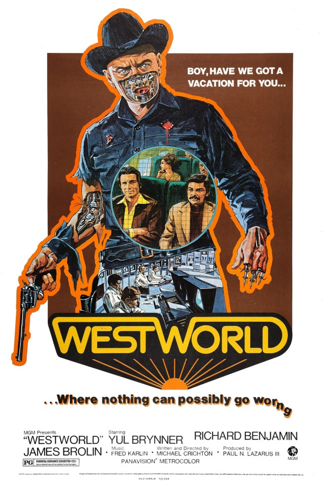 Westworld (1973) - Directed by: Michael CrichtonStarring: Richard Benjamin, James Brolin, Yul BrynnerRated: PGRunning Time: 1 h 28 mTMM Score: 4 stars out of 5STRENGTHS: Story, Influence, Meta-AestheticWEAKNESSES: Some Drawn Out Moments