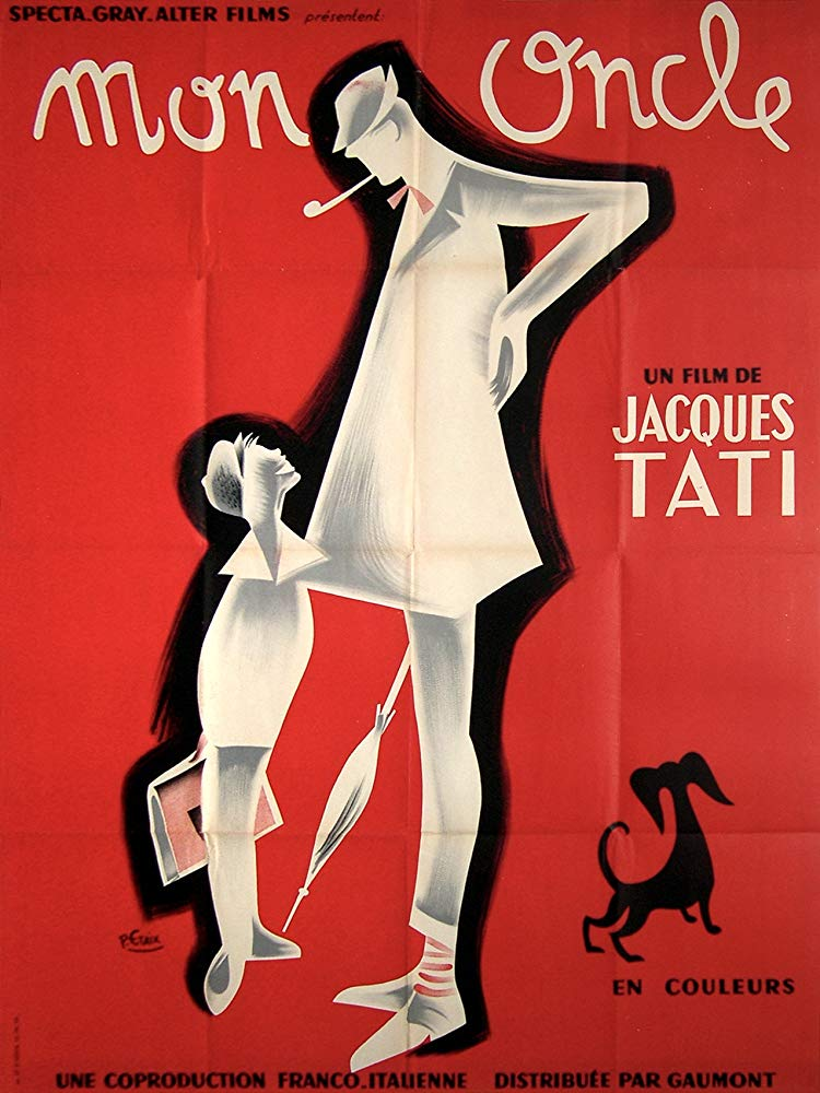Mon Oncle (1958) - Directed by: Jaques TatiStarring: Jacques Tati, Jean-Pierre Zola, Adrienne Servantie, Alain BecourtRated: NR (Suggested G)Running Time: 1 h 56 mTMM Score: 4.5 stars out of 5STRENGTHS: Subtle Satire, Fun, Mis-En-Scene, SoundtrackWEAKNESSES: Length