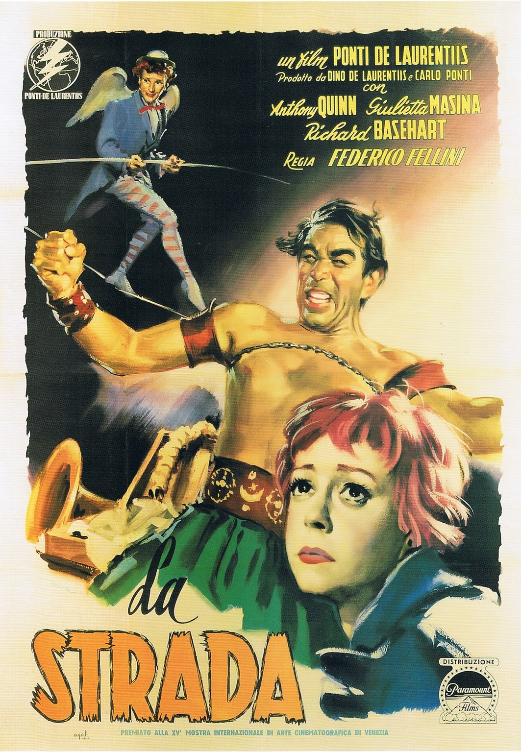 La Strada (1954) - Directed by: Federico FelliniStarring: Anthony Quinn, Giulietta Masina, Richard BasehartRated: NR (Suggested PG-13 for Suggestive Content and Brief Violence)Running Time: 1 h 48 mTMM Score: 4.5 stars out of 5STRENGTHS: Writing, Directing, ActingWEAKNESSES: -