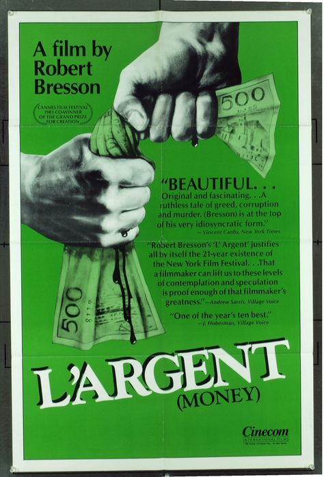 L'argent (1983) - Directed by: Robert BressonStarring:Christian Patey, Sylvie Van den Elsen, Michel BriguetRated: NRRunning Time: 1h 25mTMM Score: 3 StarsSTRENGTHS: Cinematography, StoryWEAKNESSES: Acting