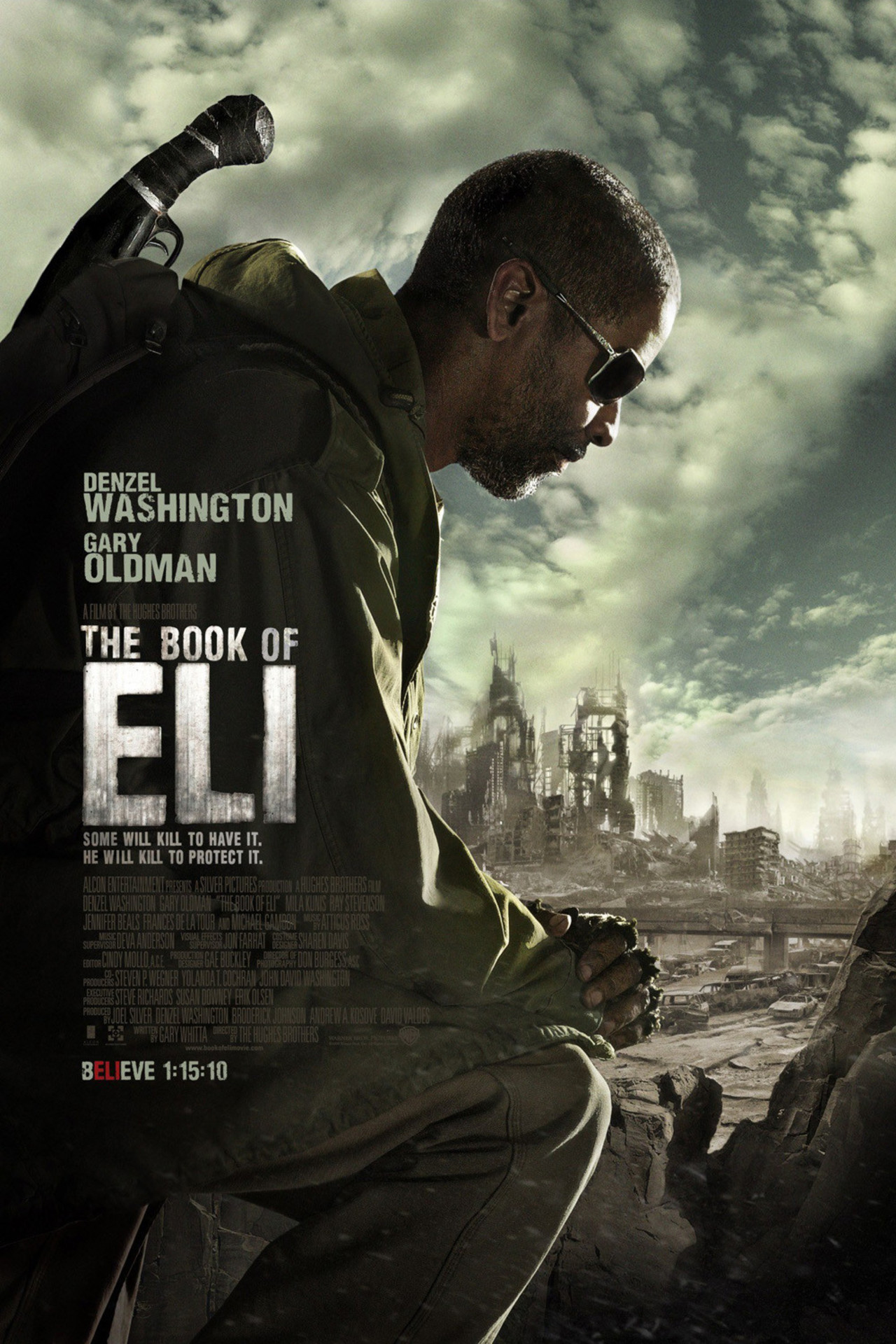The Book of Eli (2010) - Directed by: The Hughes BrothersStarring: Denzel Washington, Gary Oldman, Mila KunisRated: RRunning Time: 1h 58mTMM Score: 3 StarsSTRENGTHS: Themes, StoryWEAKNESSES: Writing, Directorial Choices