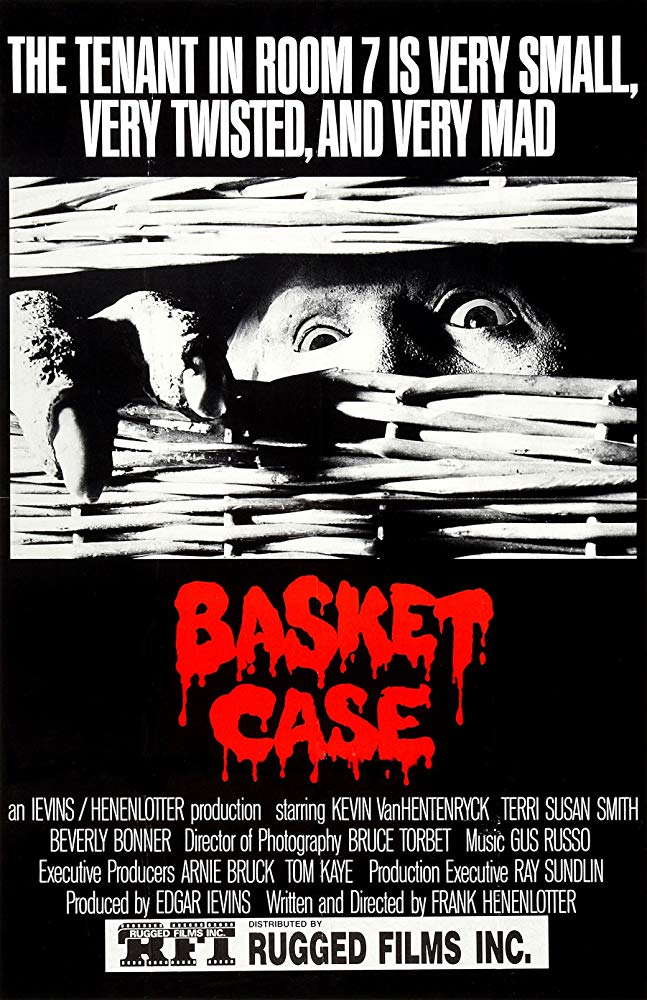 Basket Case (1982) - Directed by: Frank HenenlotterStarring: Kevin Van Hentenryck, Teri Susan Smith, Beverly BonnerRated: NR (Suggested R for Comic Horror Violence and Gore and Some Nudity)Running Time: 1 h 31 mTMM Score: 4 stars out of 5STRENGTHS:Writing, Creature Design, StoryWEAKNESSES: Definitely Not for Everyone
