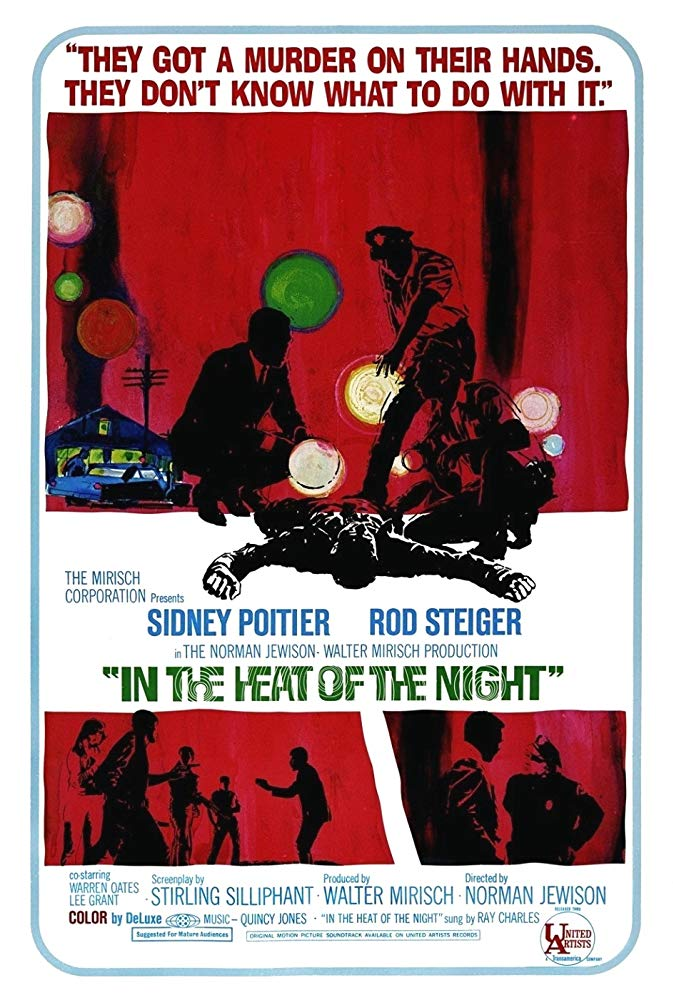 In the Heat of the Night (1967) - Directed by: Norman JewisonStarring: Sidney Poitier, Rod Steiger, Warren OatesRated: NR (Suggested PG-13 for Thematic Material, Mild Language and Violence)Running Time: 1 h 50 mTMM Score: 4 stars out of 5STRENGTHS: Message, Acting, StoryWEAKNESSES: Some Side Acting by Side Characters, Familiar Message