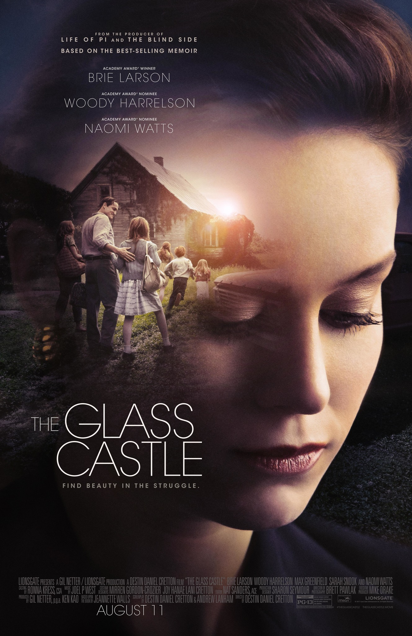 The Glass Castle (2017) - Directed by: Destin Daniel CrettonStarring: Woody Harrelson, Brie Larson, Naomi Watts, Ella Anderson, Sarah Snook, Max GreenfieldRated: PG-13 for Mature Thematic Content Involving Family Dysfunction, and For Some Language and SmokingRunning Time: 2 h 7 mTMM Score: 2 stars out of 5STRENGTHS: ActingWEAKNESSES: Overly Sentimental, Betrays the Spirit of the Memoir
