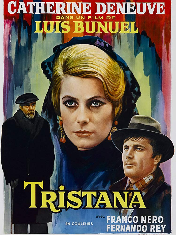 Tristana (1970) - Directed by: Luis BunuelStarring: Catherine Deneuve, Fernando Rey, Franco NeroRated: PG-13 for Some Thematic Elements and Some Disturbing ImagesRunning Time: 1 h 39 mTMM Score: 4.5 stars out of 5STRENGTHS: Acting, Writing, DirectionWEAKNESSES: Pacing