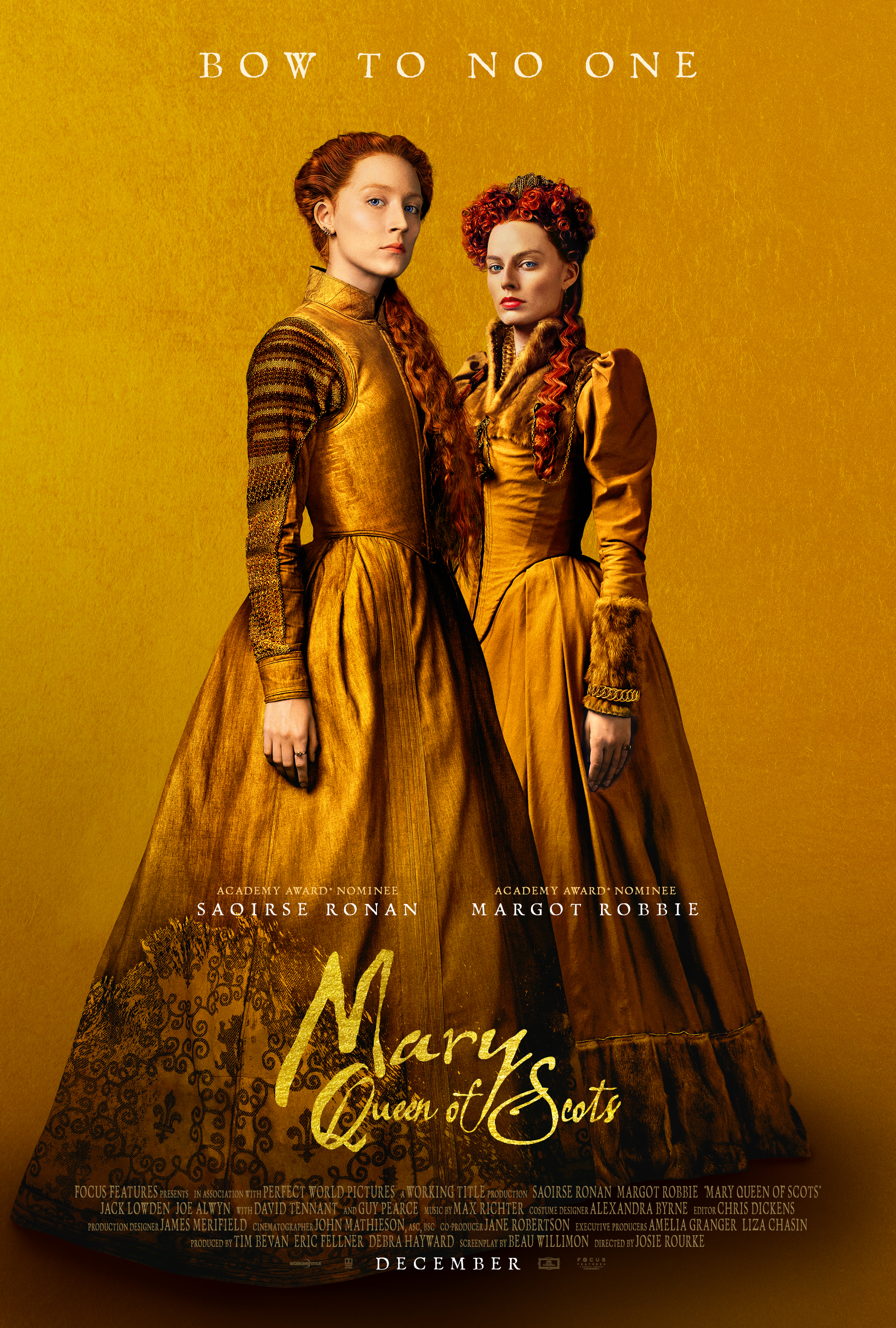 Mary Queen of Scots (2018) - Directed by: Josie RourkeStarring: Saoirse Ronan, Margot Robbie, Jack Lowden, Guy PearceRated: R for Some Violence and SexualityRunning Time: 2 h 4 mTMM Score: 2 stars out of 5STRENGTHS: Acting, CostumesWEAKNESSES: Pacing, Writing, Directing, Out of Place Themes