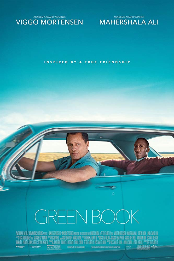 Green Book (2018) - Directed by: Peter FarrellyStarring: Viggo Mortnesen, Mahershala Ali, Linda CadelliniRated: PG-13 for Thematic Content, Including Racial Epithets, Smoking, Some Violence and Suggestive MaterialRunning Time: 2 h 10 mTMM Score: 3.5 stars out of 5STRENGTHS: Acting, WritingWEAKNESSES: Familiar Themes, Familiar Storyline, Familiar Character Arcs, White Savior Ending