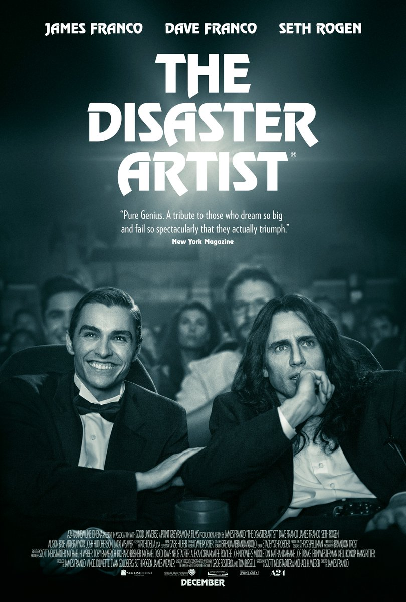 The Disaster Artist (2017) - Directed by: James FrancoStarring: James Franco, Dave Franco, Alison Brie, Jacki Weaver, Paul Scheer, Seth Rogen, Zac Efron, Josh Hutcherson, Ari Graynor, Megan Mullally, Jason MantzoukasRated: R for Language Throughout and Some Sexuality/NudityRunning Time: 1 h 44 mTMM Score: 3.5 stars out of 5STRENGTHS: Acting, Writing, StoryWEAKNESSES: Weak Ending, Narrow Audience for Some Jokes