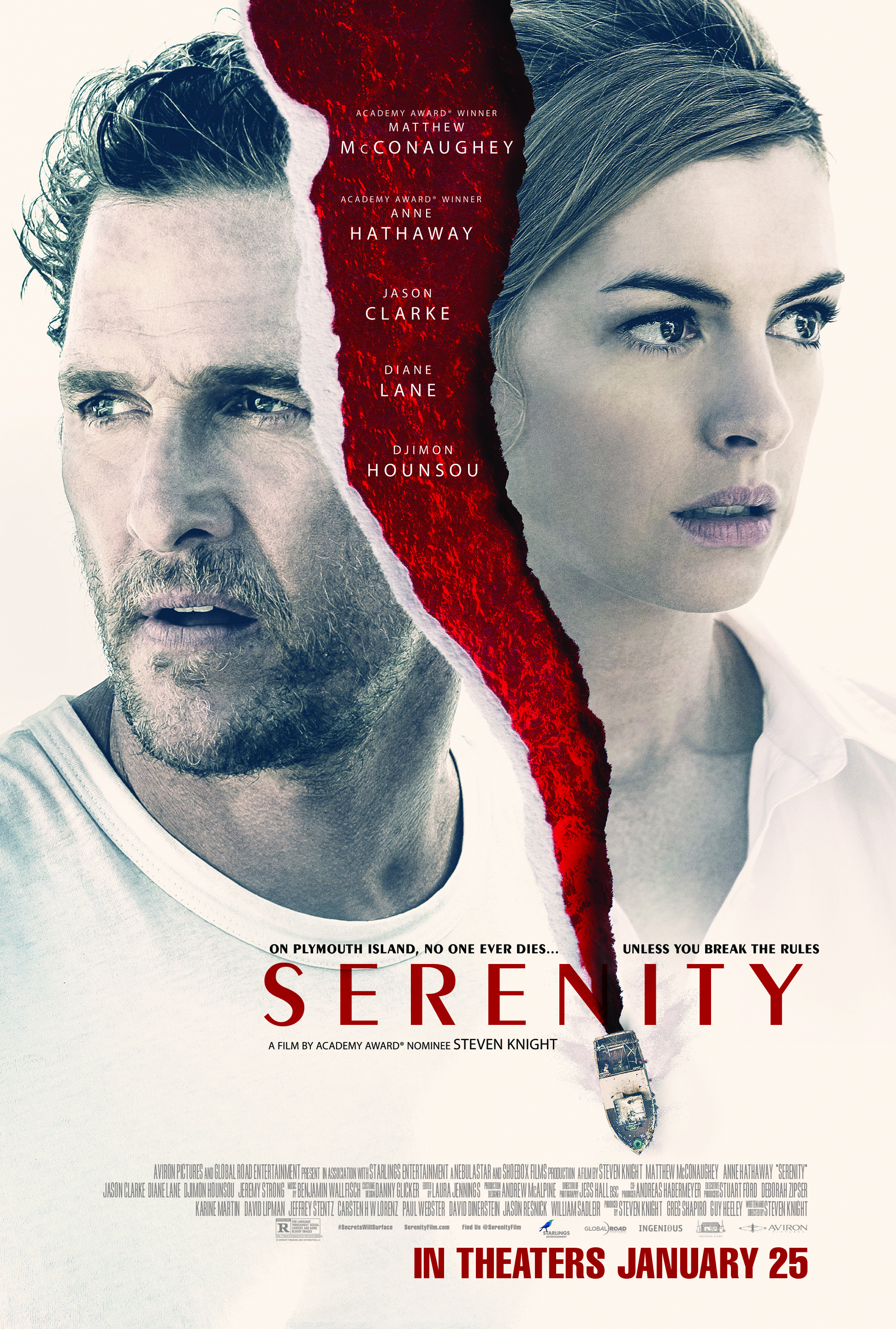 Serenity (2019) - Directed by: Steven KnightStarring: Matthew McConaughey, Anne Hathaway, Diane Lane, Jason Clarke, Djimon HounsouRated: R for Language throughout, Sexual Content, and Some Bloody ImagesRunning Time: 1 h 46 mTMM Score: 2 StarsSTRENGTHS: So Bad It's GoodWEAKNESSES: Laughable Dialogue, Confusing Direction, Obscure Characters, Absurd Twists, Bizarre Writing