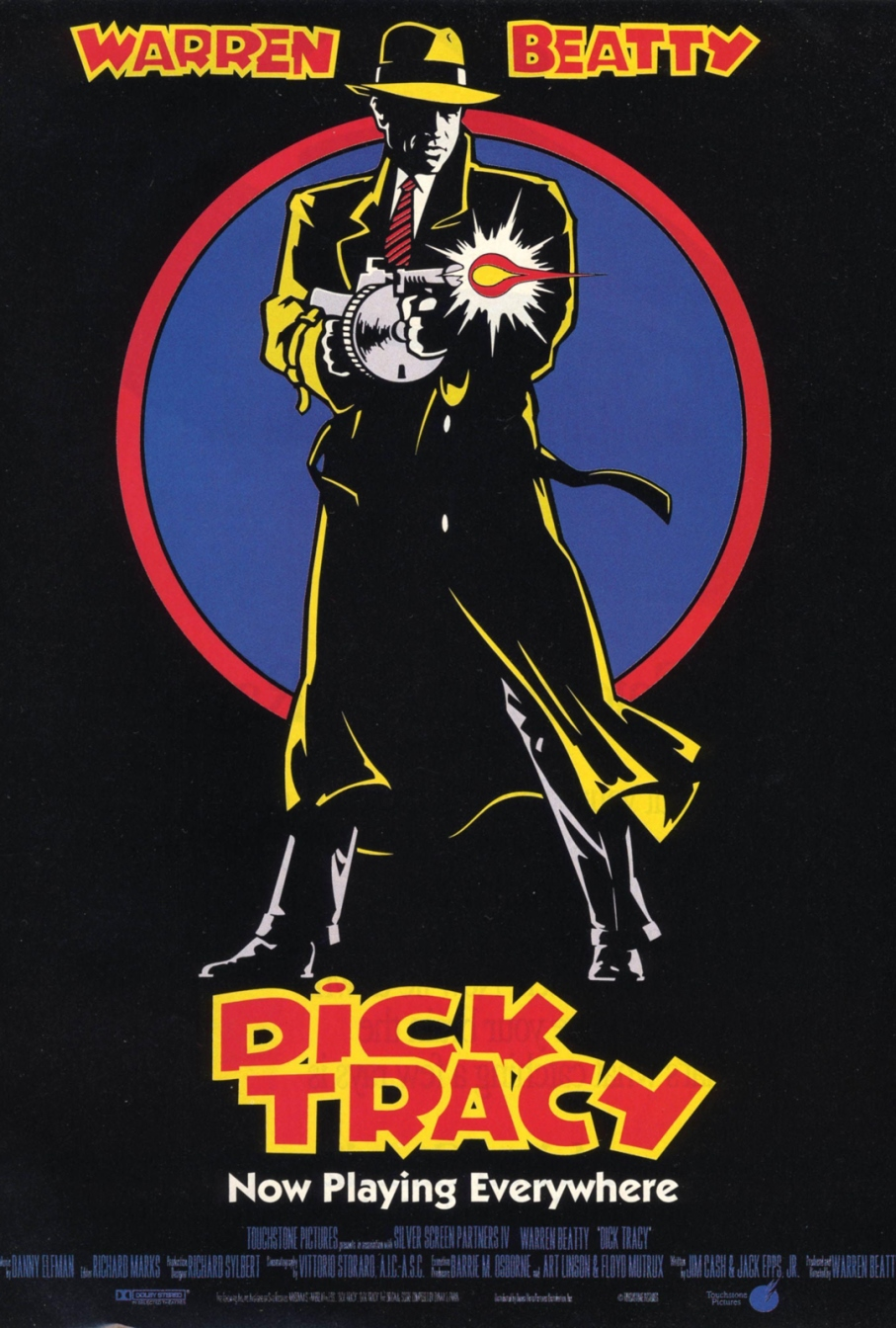 Dick Tracy (1990) - Directed by: Warren BeattyStarring: Warren Beatty, Charlie Korsmo, Glenne Headly, Al Pacino, Madonna, Dustin Hoffman, Mandy Patinkin, Kathy Bates, Dick Van Dyke, James CaanRated: PGRunning Time: 1 h 45 mTMM Score: 4 stars out of 5STRENGTHS: Style, Direction, Makeup and Production Design, Acting, FunWEAKNESSES: Not For Everyone