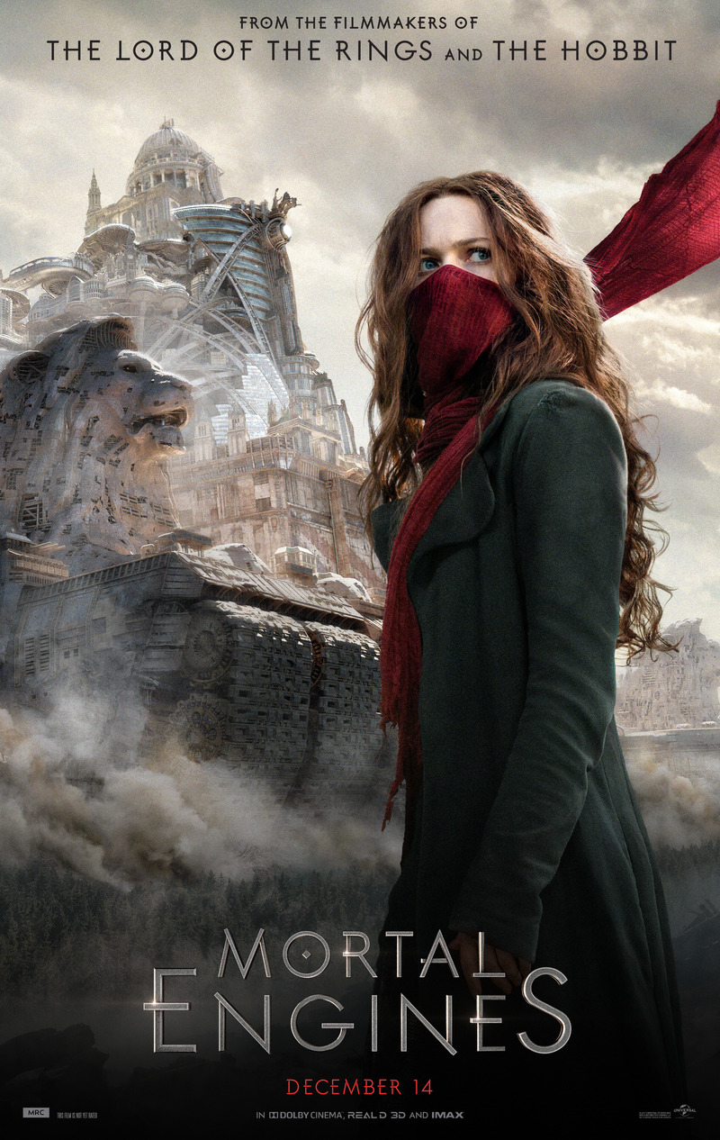 Mortal Engines (2018) - Directed by: Christian RiversStarring: Hera Hilmar, Robert Sheehan, Hugo Weaving, Stephen LangRated: PG-13 for Sequences of Futuristic Violence and ActionRunning Time: 2 h 8 mTMM Score: 2.5 stars out of 5STRENGTHS:Production Design, Some Acting, Some ActionWEAKNESSES: Some Acting, Sloppy Worldbuilding and Writing, Rushed Jumbled Story, Mostly Flat Characters