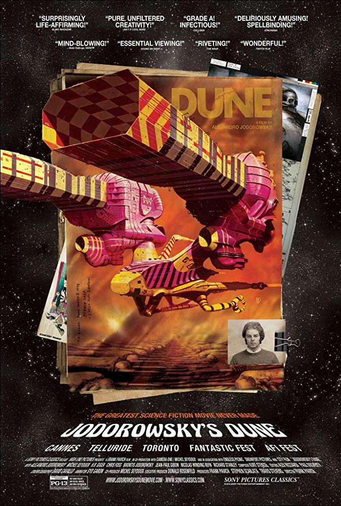 Jodorowsky's Dune (2013) - Directed by: Frank PavichStarring: Alejandro Jodorowsky, Brontis Jodorowsky, Nicolas Winding RefnRated: PG-13 for Some Violent and Sexual Images and Drug ReferencesRunning Time: 1 h 30 mTMM Score: 4 stars out of 5STRENGTHS: StoryWEAKNESSES: Narrow Target Audience