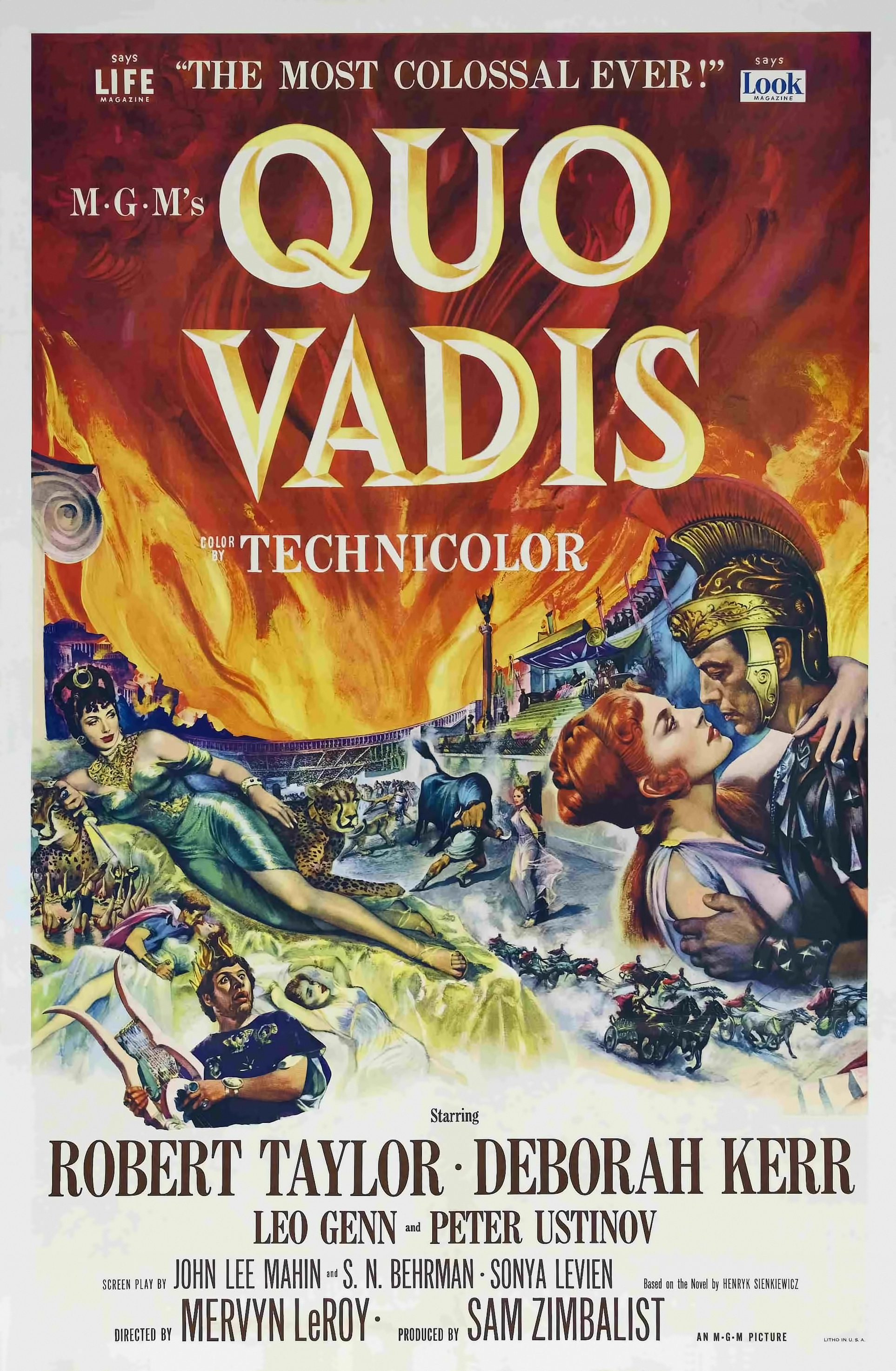 Quo Vadis (1951) - Directed By: Mervyn LeRoyStarring: Robert Taylor, Deborah Kerr, Peter Ustinov, Leo GannRated: NRRun Time: 2h 51mTMM Score: 4 StarsStrengths: Acting, Special EffectsWeakness: Some Acting, Dated Style