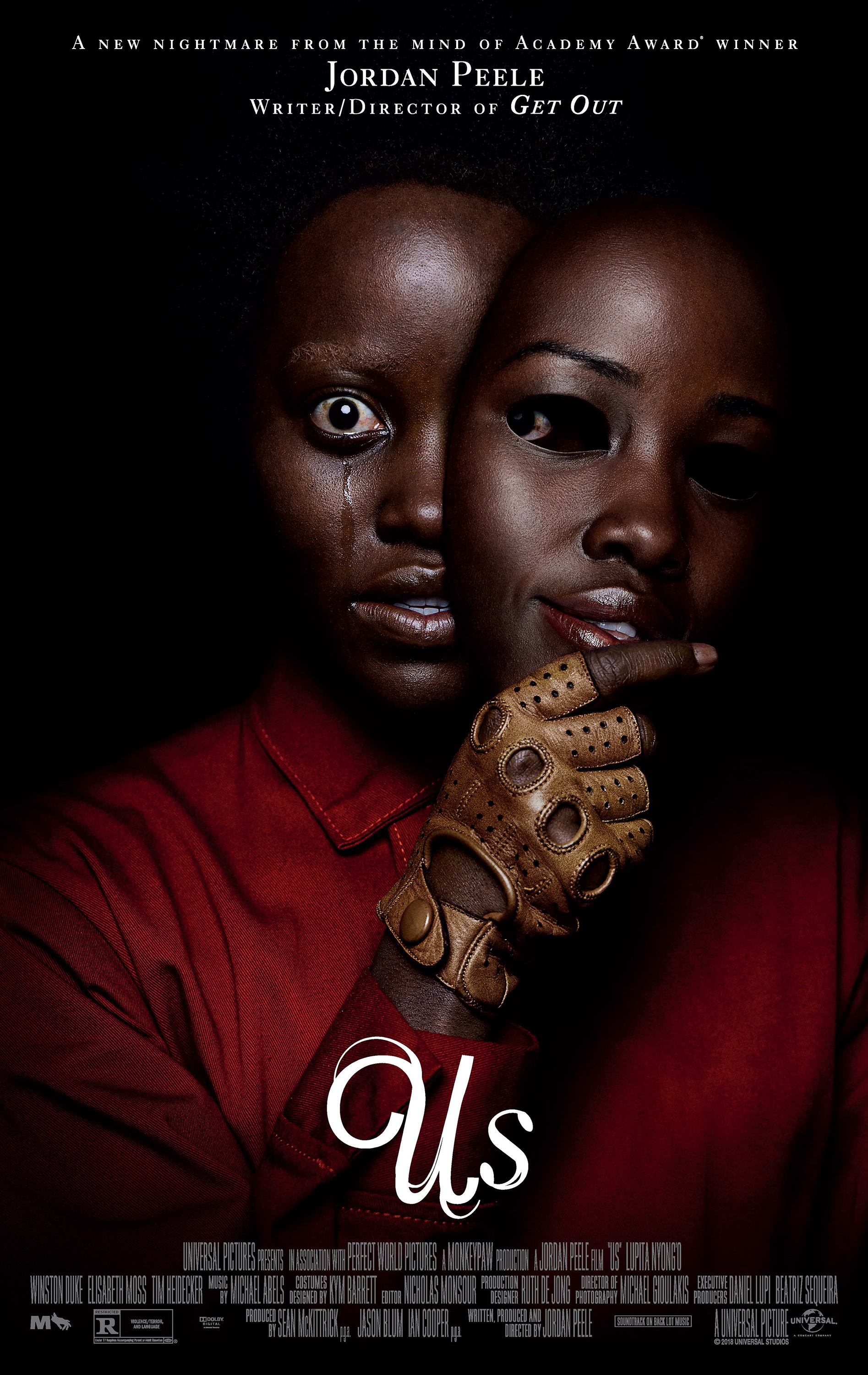 Us (2019) - Directed by: Jordan PeeleStarring: Lupita Nyong'o, Winston Duke, Elisabeth Moss, Tim Heidecker, Shahadi Wright Joseph, Evan AlexRated: R for Violence/Terror, and LanguageRunning Time: 1 h 56 mTMM Score: 5 stars out of 5STRENGTHS: Writing, Directing, Acting, MessageWEAKNESSES: -
