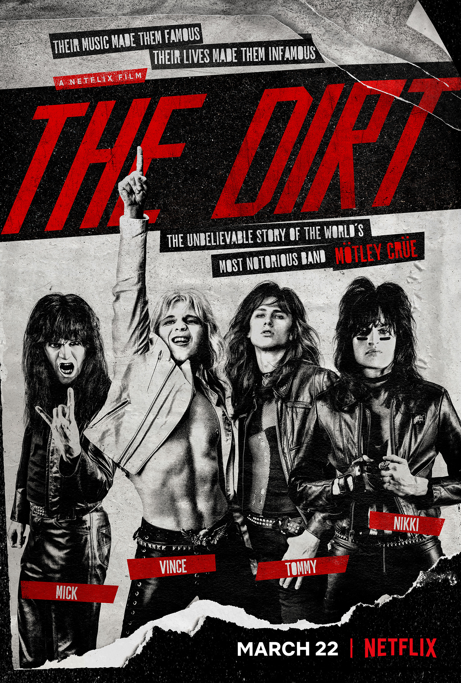 The Dirt (2019) - Directed by: Jeff TremaineStarring: Colson Baker, Douglas Booth, Daniel Webber, Iwan Rheon, David CostabileRated: RRunning Time: 1 h 48 mTMM Score: 3 StarsSTRENGTHS: Good Music, Solid Performances, Very EntertainingWEAKNESSES: Messy Story, Clunky Dialogue, Sloppy Direction, Not Enough Grit