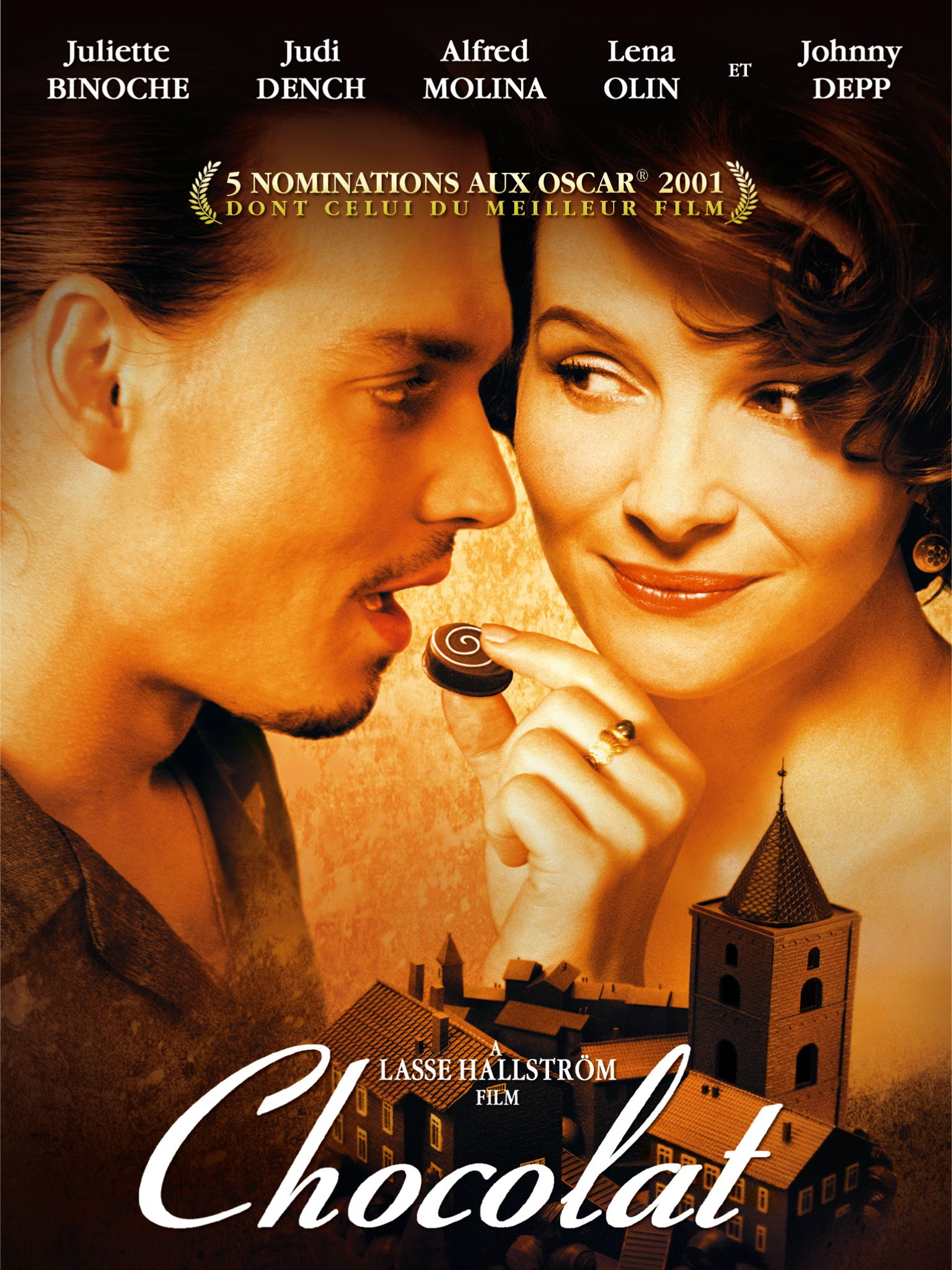 Chocolat (2000) - Directed by: Lasse HallstromStarring: Juliette Binoche, Alfred Molina, Judi Dench, Carrie-Anne Moss, Lena Olin, Peter Stormare, Hugh O'ConorRated: PG-13 for a Scene of Sensuality and Some ViolenceRunning Time: 2 h 1 mTMM Score: 4 stars out of 5STRENGTHS: Tone, Writing, Acting, Themes, Production DesignWEAKNESSES: Cinematography, Editing
