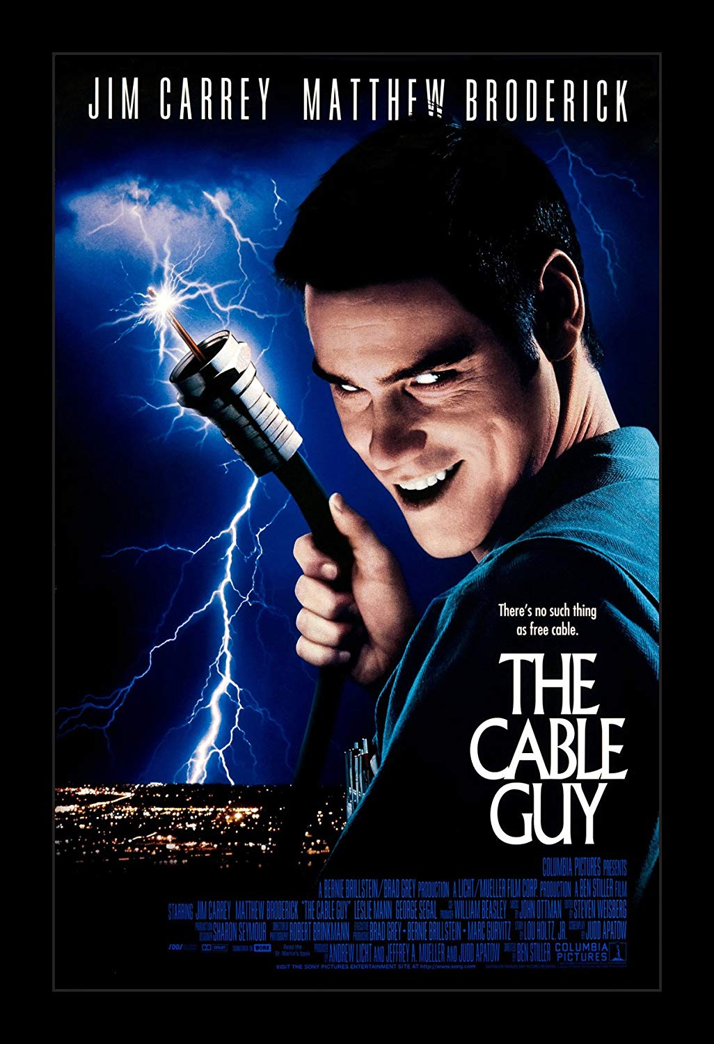 The Cable Guy (1996) - Directed by: Ben StillerStarring: Jim Carrey, Matthew Broderick, Leslie Mann, Jack Black, Eric Roberts, David Cross, Owen Wilson, Andy Dick, Ben StillerRated: PG-13 for Dark Thematic Elements and Crude HumorRunning Time: 1 h 36 mTMM Score: 2.5 stars out of 5STRENGTHS: Unique Story, Some HumorWEAKNESSES: Some Humor