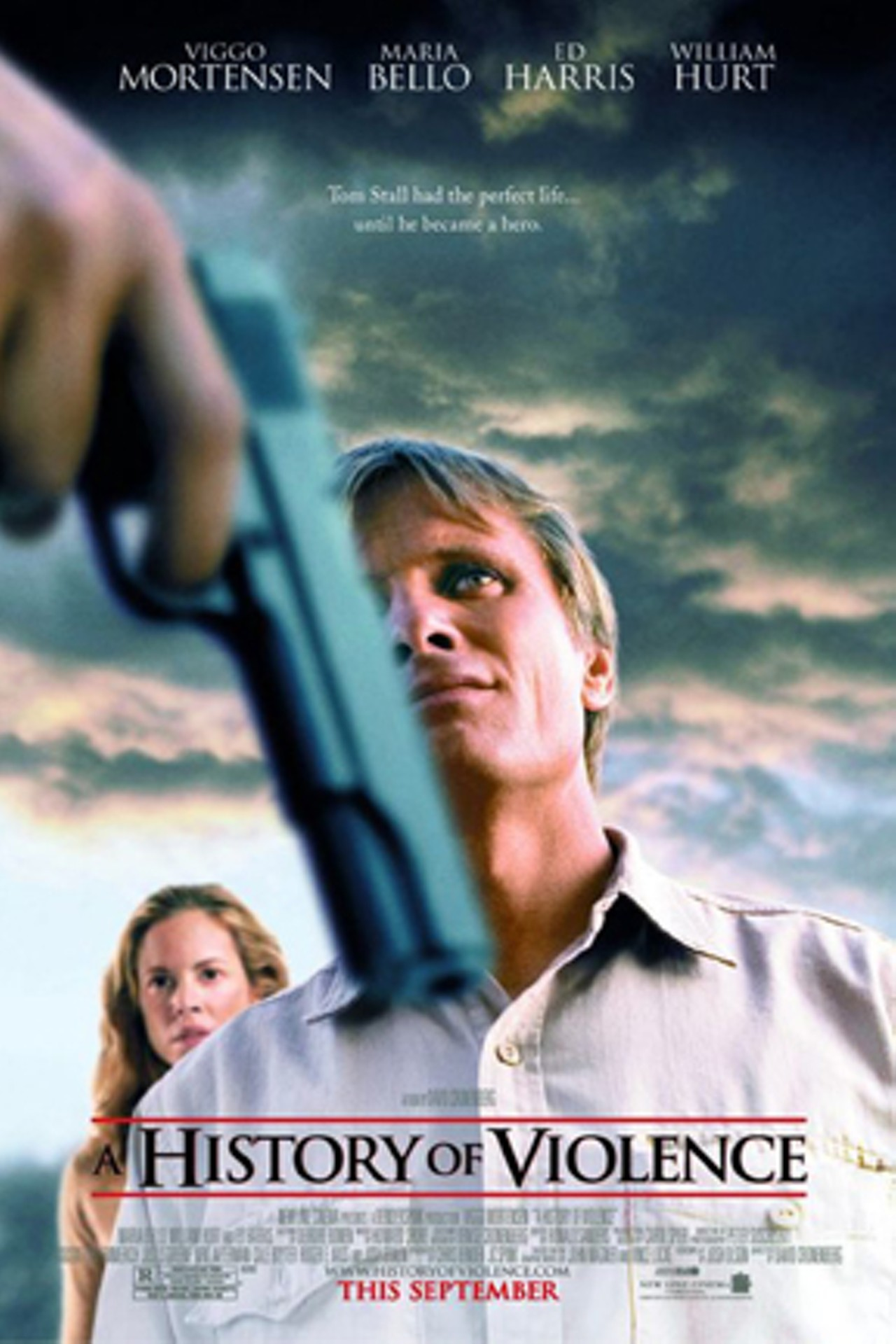 A History of Violence (2005) - Directed by: David CronenbergStarring: Viggo Mortensen, Maria Bello, Ed Harris, Ashton Holmes, William HurtRated: R for Strong Brutal Violence, Graphic Sexuality, Nudity, Language and Some Drug UseRunning Time: 1h 36mTMM Score: 4 StarsSTRENGTHS: Performances, Subversive Writing, DirectionWEAKNESSES: First Act