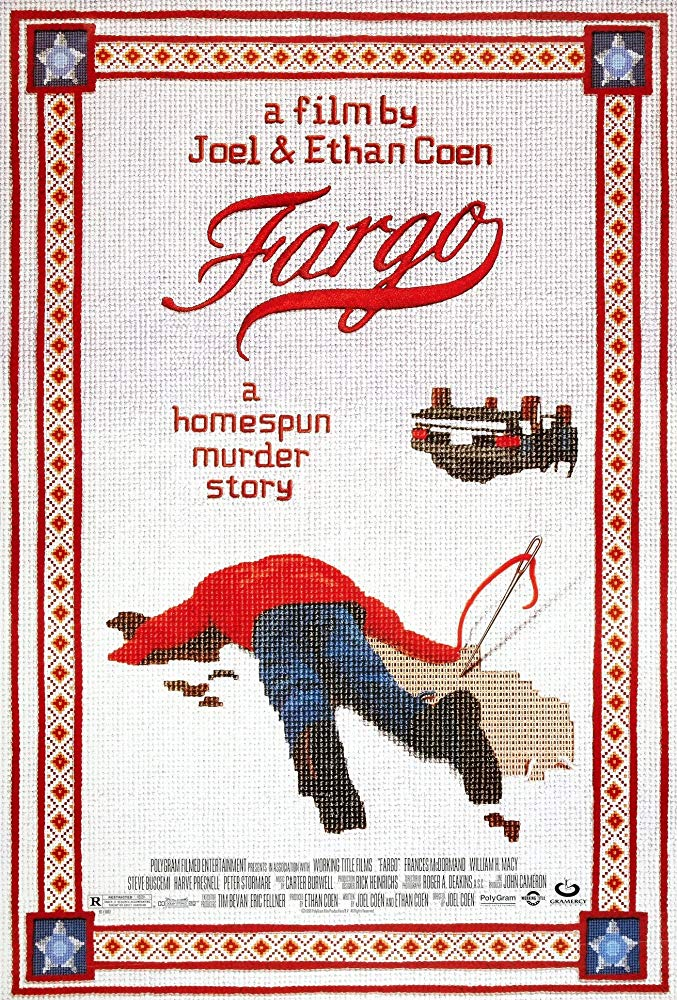 Fargo (1996) - Directed By: Joel & Ethan CoenStarring: William H. Macey, Steve Buscemi, Peter Stormare, Frances McDormand, John Caroll Lynch, Larry BrandenbergRated: RRun Time: 1h 38mTMM Score: 5 StarsStrengths: Acting, Themes, Cinematography, Unique SettingWeakness: None