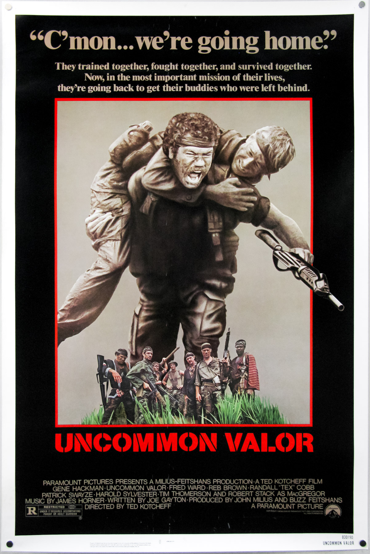 Uncommon Valor (1983) - Directed by: Ted KotcheffStarring: Gene Hackman, Patrick Swayze, Robert Stack, Jan KaczmarekRated: RRunning Time: 1 h 45 mTMM Score: 2 stars out of 5STRENGTHS: Some Action, Gene HackmanWEAKNESSES: Acting, Formulaic and Predictable Plot, Directing, Editing, Production Design