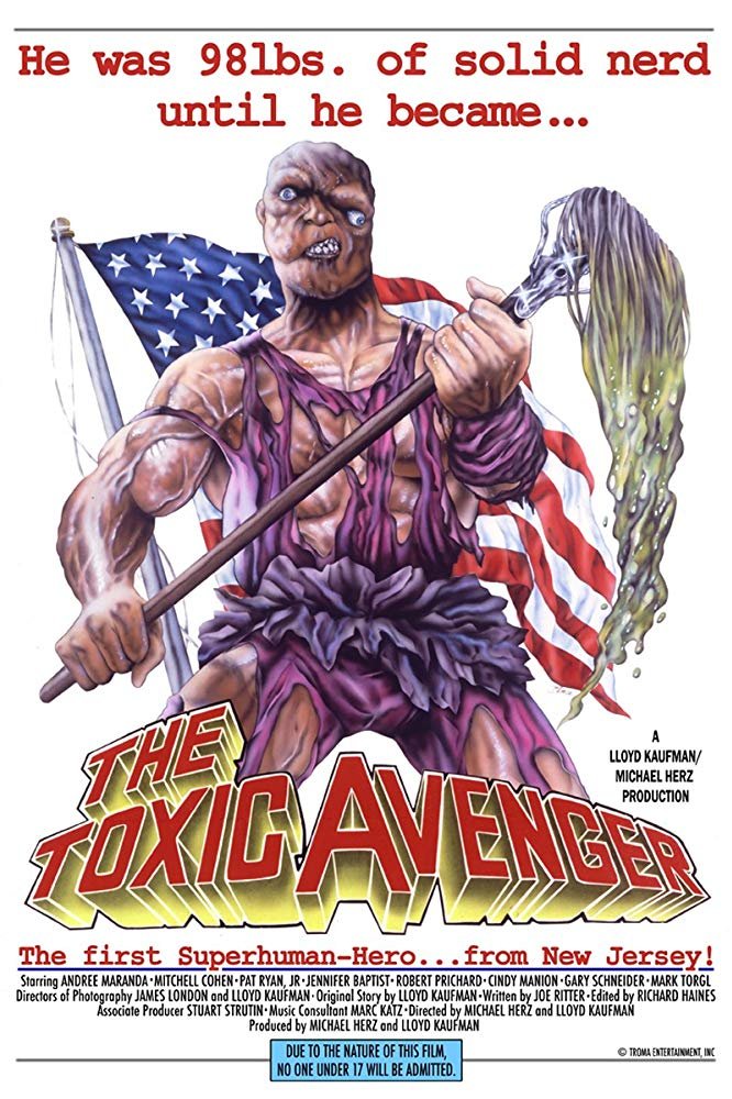 The Toxic Avenger (1984) - Directed by: Michael Herz, Lloyd KaufmanStarring: Andree Maranda, Mitch Cohen, Melvin Junko, Gary SchneiderRated: RRunning Time: 1 h 22 mTMM Score: 3.5 stars out of 5STRENGTHS: Practical Effects, HumorWEAKNESSES: Not For Everyone, Writing, Content