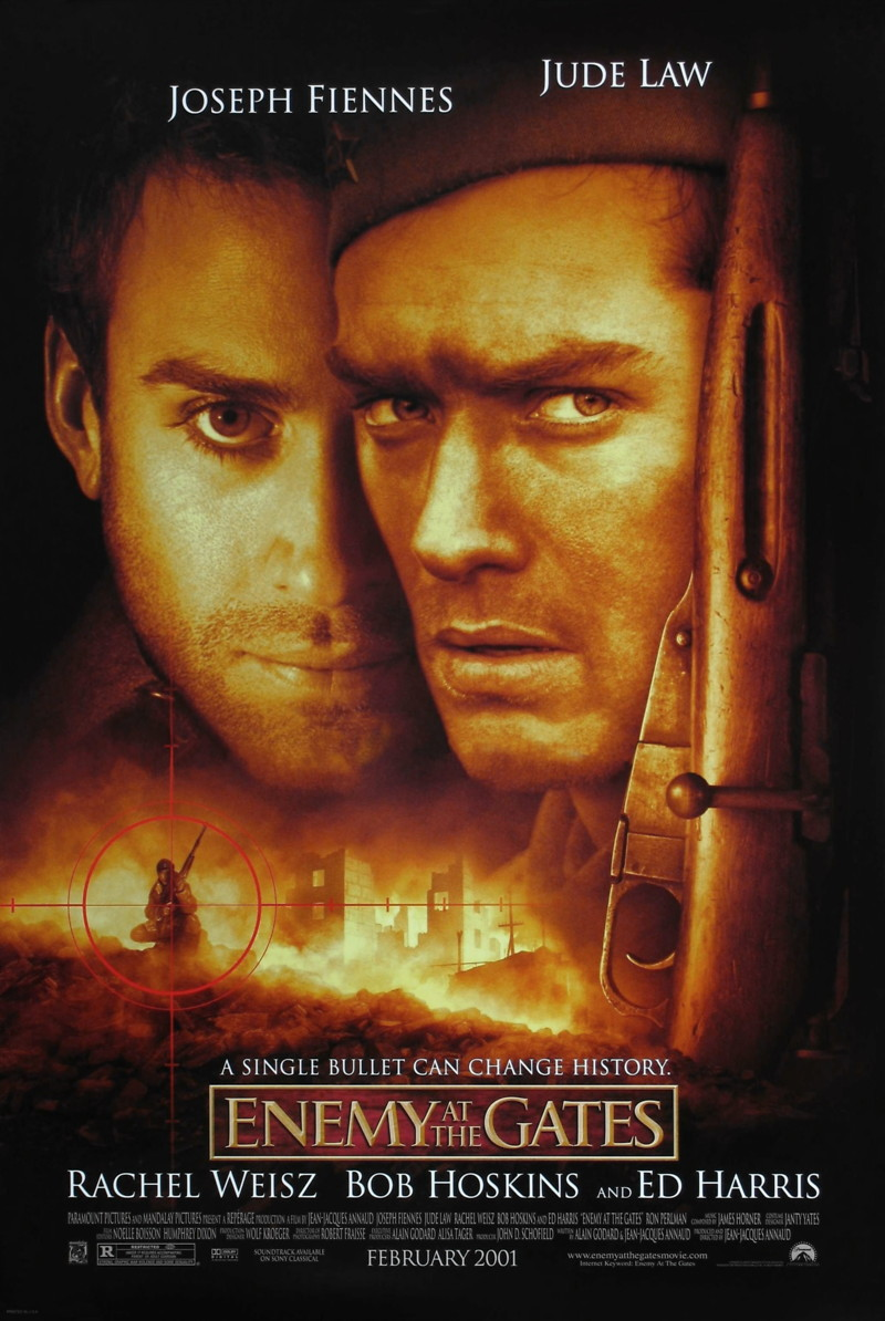 Enemy at the Gates (2001) - Directed by: Jean-Jacques AnnaudStarring: Jude Law, Ed Harris, Rachel Weisz, Joseph Fiennes, Ron PearlmanRated: R for Strong Graphic War Violence and Some SexualityRunning Time: 2 h 11 mTMM Score: 2.5 stars out of 5STRENGTHS: Production Design, Some Action, Some ActingWEAKNESSES: Writing, Some Acting, Emotionally Distant, Pacing