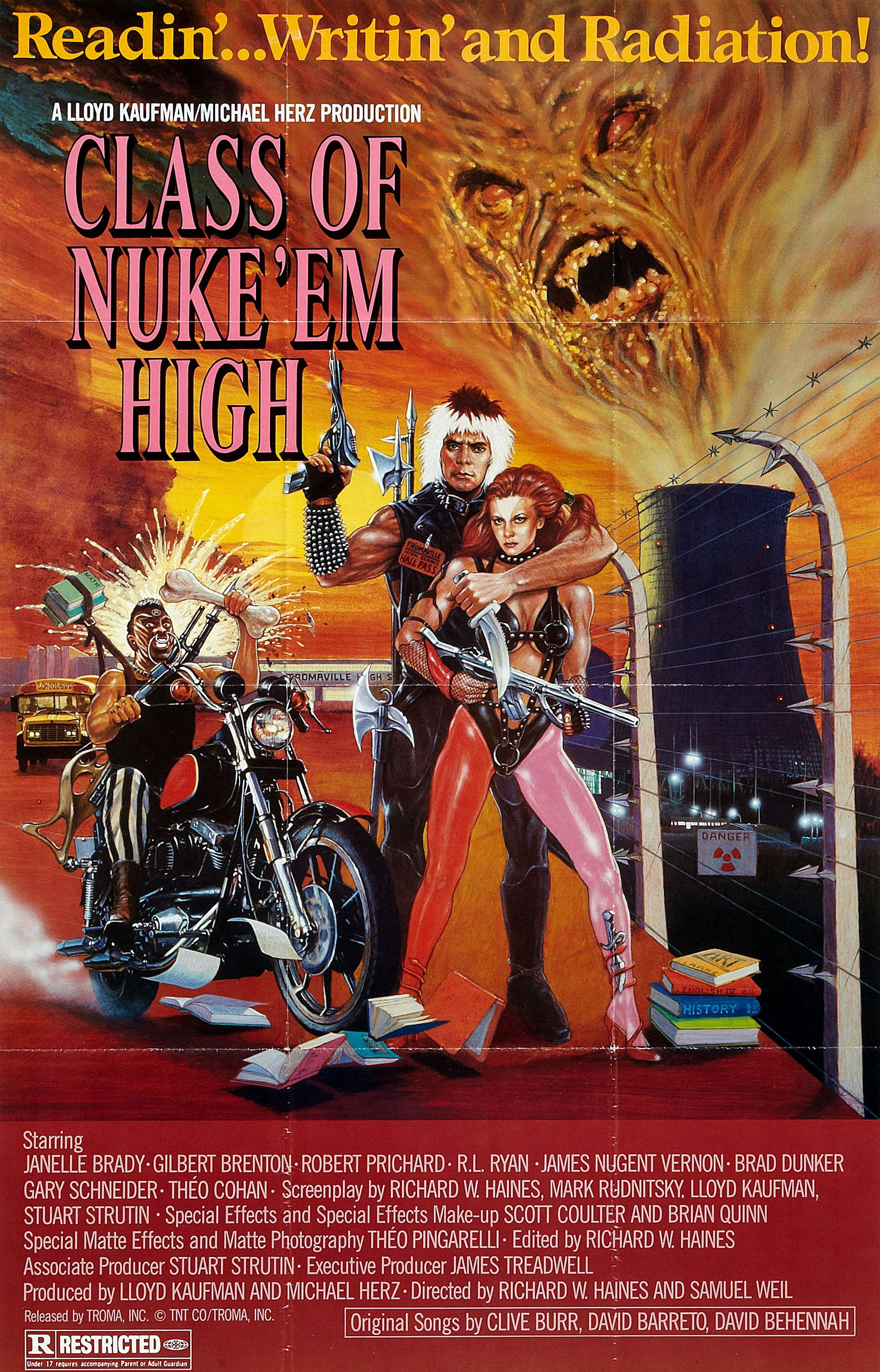 Class of Nuke 'Em High (1986) - Directed by: Richard W. Haines, Lloyd KaufmanStarring: Janelle Brady, Gil Brenton, Robert PrichardRated: RRunning Time: 1 h 25 mTMM Score: 2 stars out of 5STRENGTHS: Practical EffectsWEAKNESSES: Pacing, Boring
