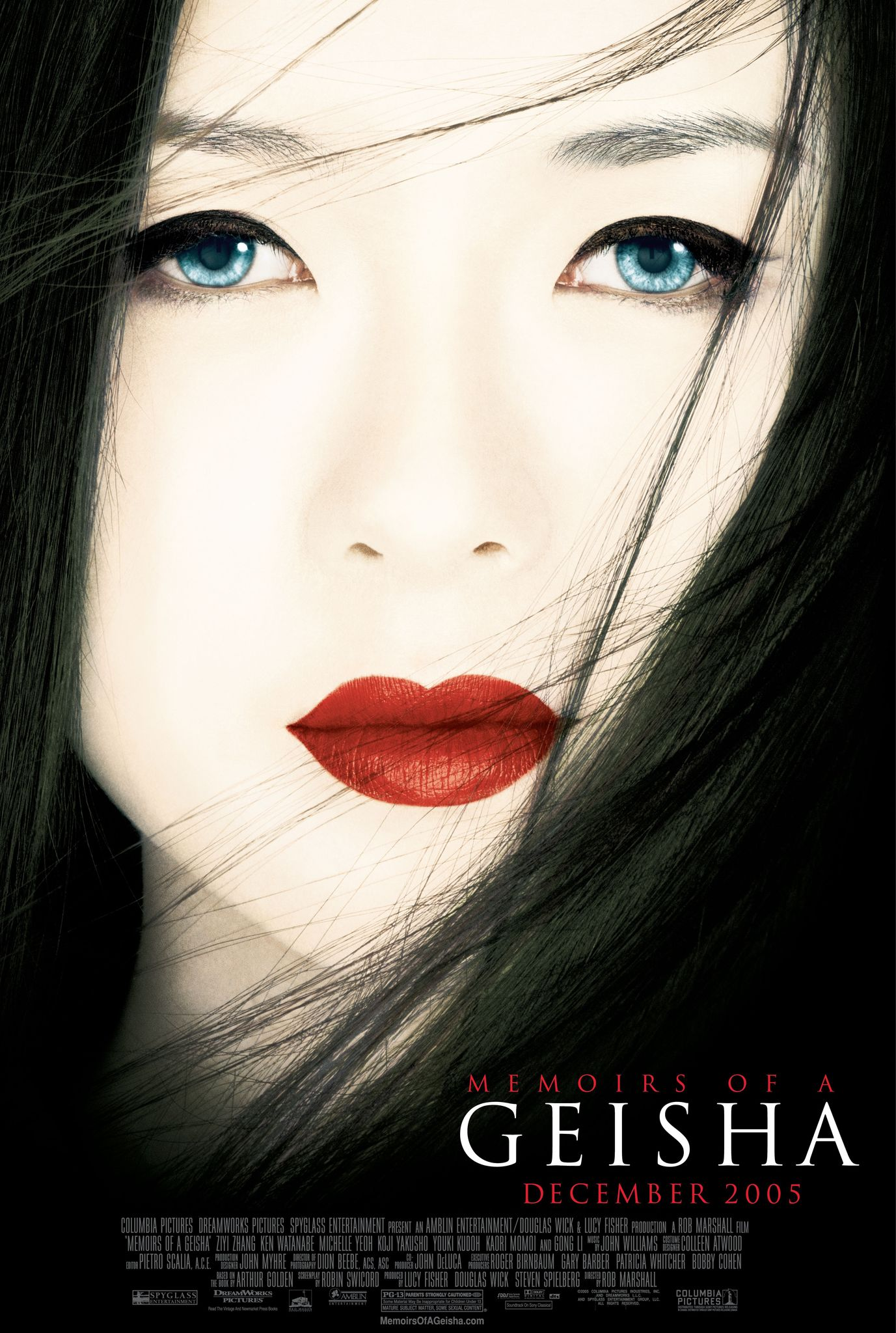 Memoirs of a Geisha (2005) - Directed by: Rob MarshallStarring: Ziyi Zhang, Michelle Yeoh, Ken Wantanabe, Koji YakushoSuzuka Ohgo, Samantha Futerman, Li Gong, Tsai Chin, Kaori MomoiRated: PG-13 for Mature Subject Matter and Some Sexual ContentRunning Time: 2 h 25 mTMM Score: 3.5 stars out of 5STRENGTHS: Production and Costume Design, Pacing, Story, Cinematography, MusicWEAKNESSES: Themes, Mischaracterization of Characters, It's in English (?)