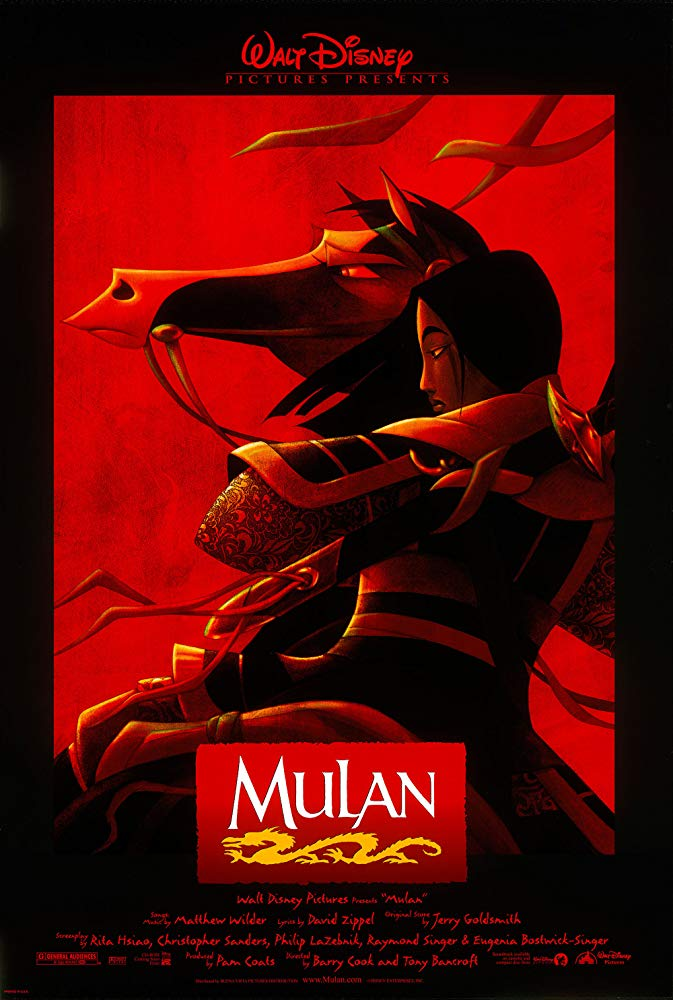 Mulan (1998) - Directed by: Tony Bancroft, Barry CookStarring: Ming-Na Wen, Eddie Murphy, BD Wong, Soon-Tek Oh, James Hong, Pat Morita, Miguel FerrerRated: GRunning Time: 1 h 28 mTMM Score: 4.5 stars out of 5STRENGTHS: Story, Music, Animation Style, Song, Excitement, ThemesWEAKNESSES: -