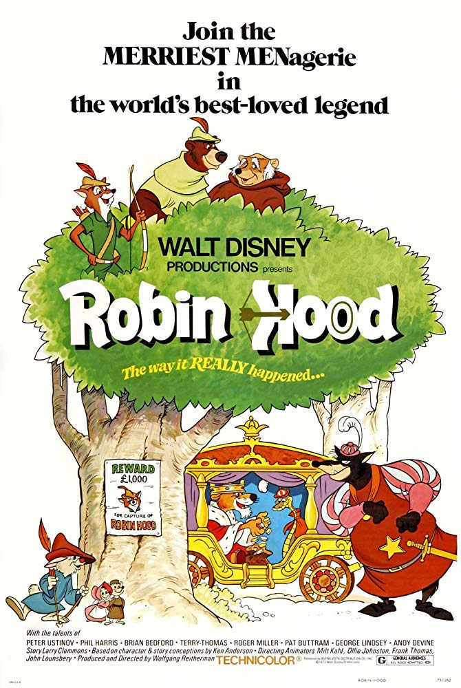 Robin Hood (1973) - Directed by: Wolfgang ReithermanStarring: Brian Bedford, Monica Evans, Phil Harris, Andy Devine, Peter Ustinov, Roger MillerRated: GRunning Time: 1 h 23 mTMM Score: 3 stars out of 5STRENGTHS: Some Fun Scenes, Likeable CharactersWEAKNESSES: Pacing, Reuses Animation