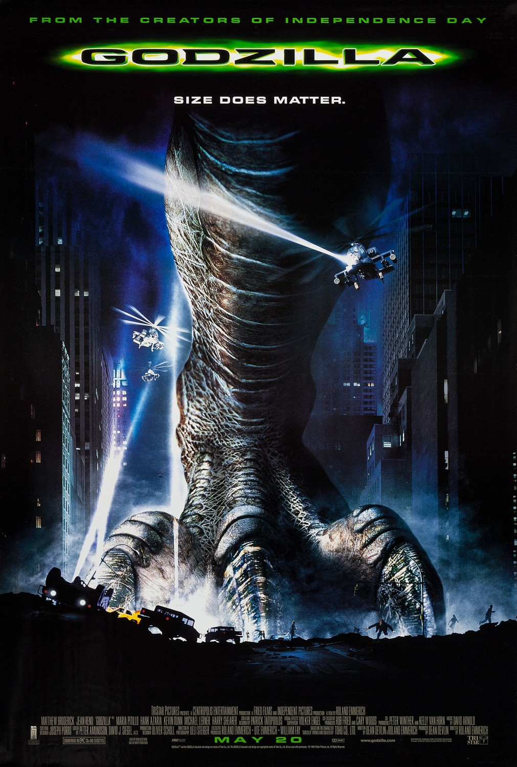 Godzilla (1998) - Directed by: Roland EmmerichStarring: Matthew Broderick,Jean Reno, Maria Pitillo, Hank Azaria, Kevin Dunn, Michael LernerRated: PG-13 for Sci-Fi Monster Action/ViolenceRunning Time: 2 h 19 mTMM Score: 2 stars out of 5STRENGTHS: Dumb FunWEAKNESSES: Pointless Scenes and Characters, Length, Dated CGI, Writing, Directing