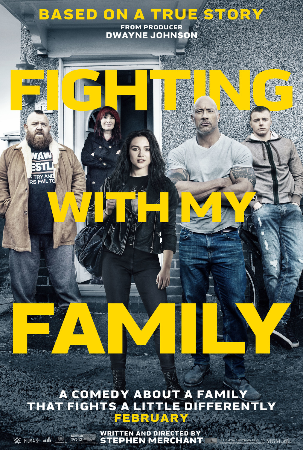 Fighting with My Family (2019) - Directed by: Stephen MerchantStarring: Florence Pugh, Jack Lowden, Nick Frost, Lena Headey, Dwayne Johnson, Stephen MerchantRated: PG-13 for Crude and Sexual Material, Language Throughout, Some Violence and Drug ContentRunning Time: 1 h 48 mTMM Score: 3.5 stars out of 5STRENGTHS: Writing, Acting, Story, ThemesWEAKNESSES: Follows Sports Movie Cliches