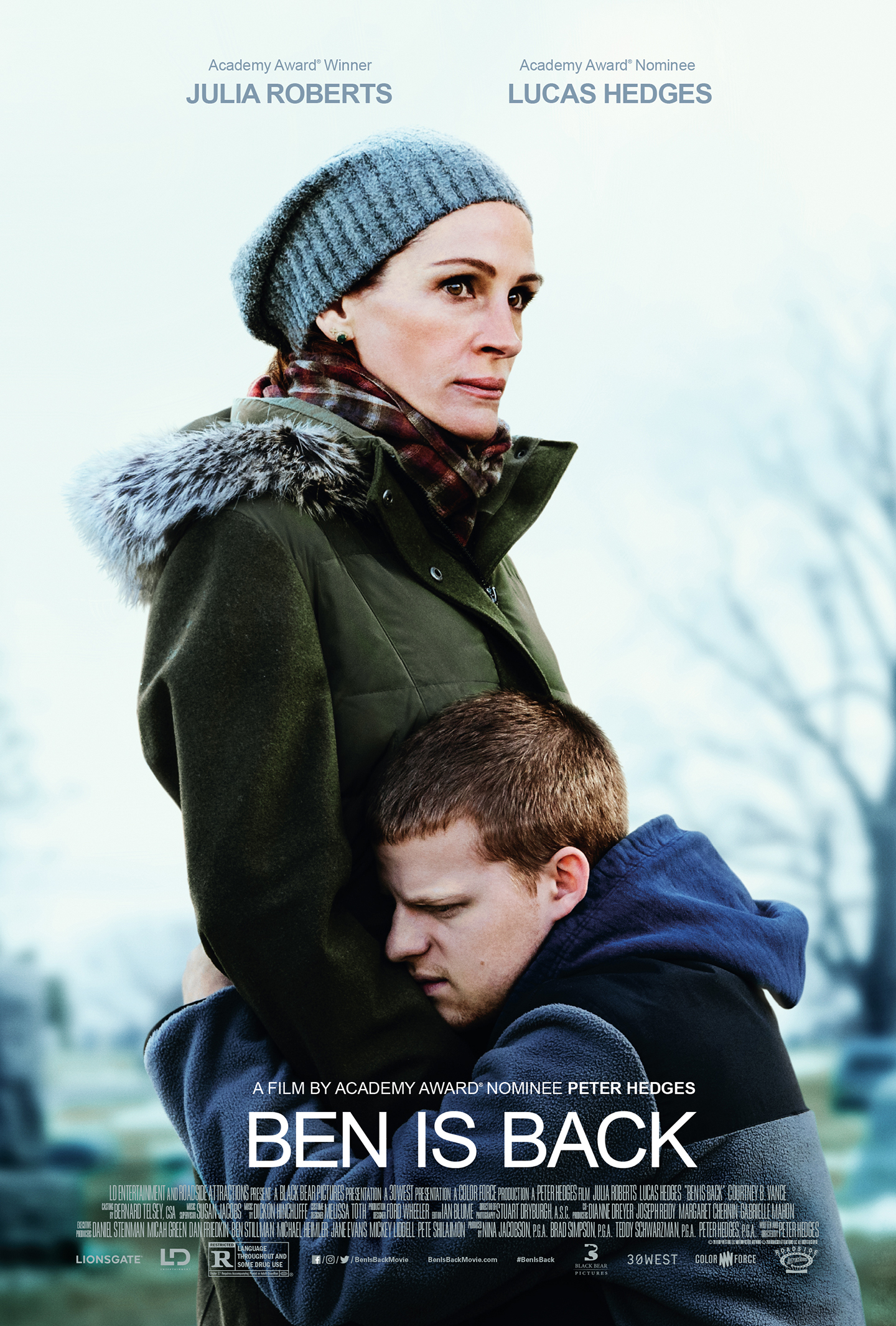 Ben is Back (2018) - Directed by: Peter HedgesStarring: Julia Roberts, Lucas Hedges, Kathryn Newton, Courtney B. VanceRated: R for Language Throughout and Some Drug UseRunning Time: 1h 44mTMM Score: 3.5 StarsSTRENGTHS: Performances, MessageWEAKNESSES: Too Safe