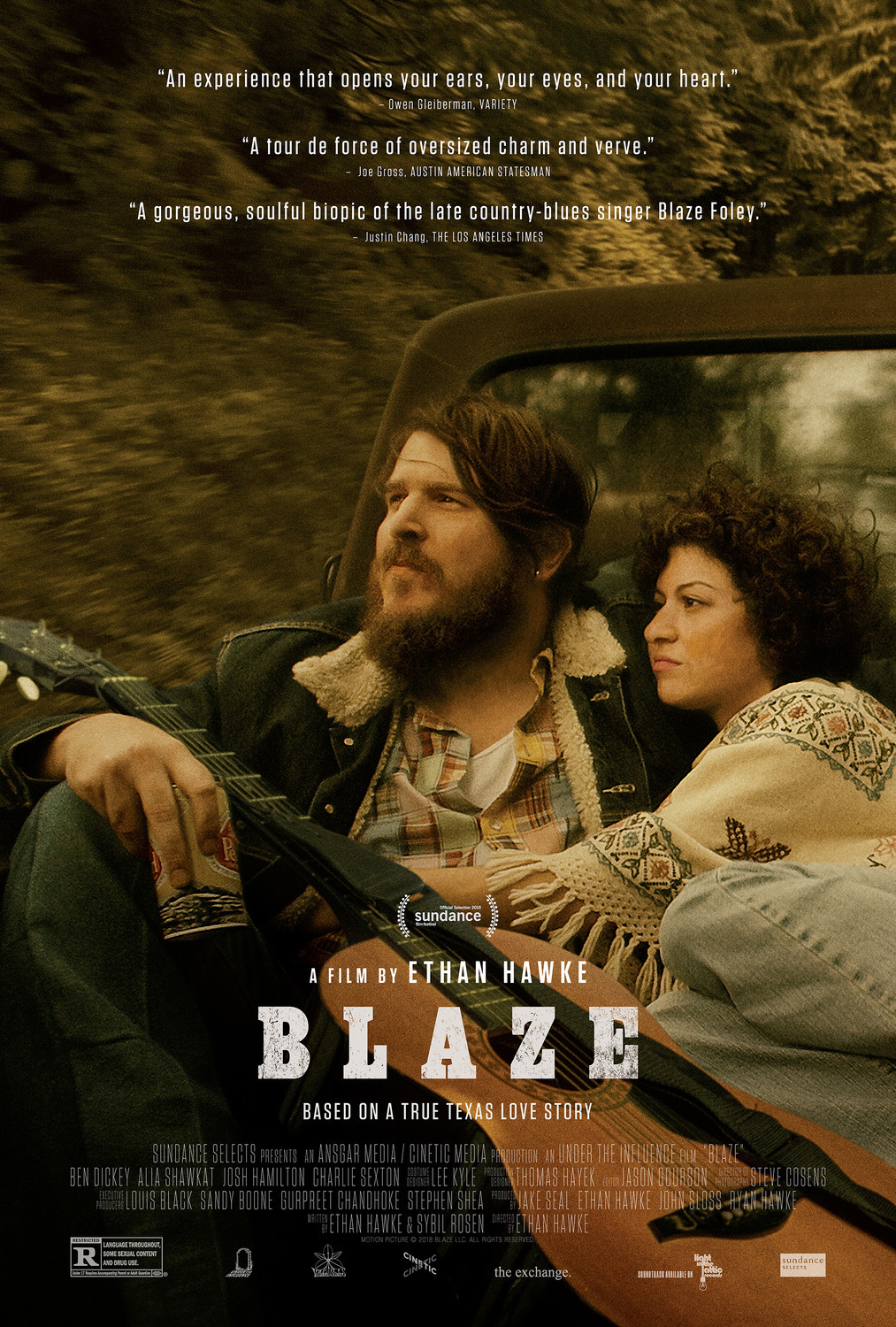 Blaze (2018) - Directed by: Ethan HawkeStarring: Ben Dickey, Alia Shawkat, Kris Kristofferson, Richard Linklater, Sam Rockwell, Steve Zahn, Charlie SextonRated: R for Language Throughout, Some Sexual Content and Drug UseRunning Time: 1 h 23 mTMM Score: 4.5 stars out of 5STRENGTHS: Unique Structure, Acting, Writing, DirectingWEAKNESSES: Pacing, Length