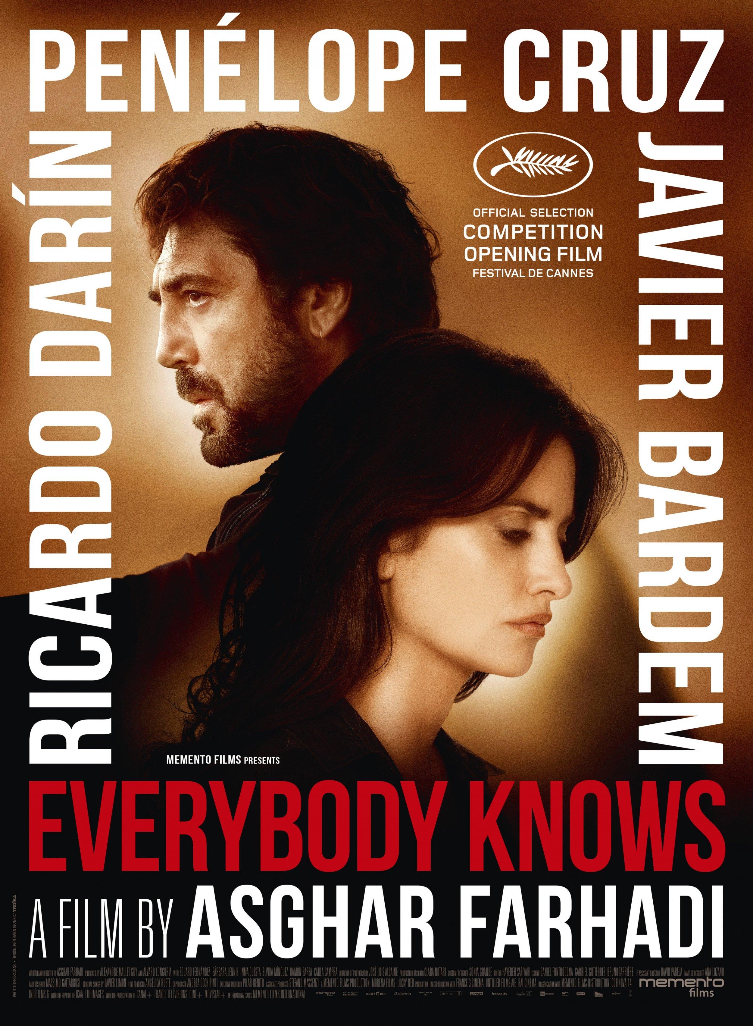 Everybody Knows (2018) - Directed By: Asghar FarhadiStarring: Penelope Cruz, Javier Bardem, Ricardo DarinRated: RRun Time: 2h 13mTMM Score: 4 StarsStrengths: Acting, MysteryWeakness: A Hair Long