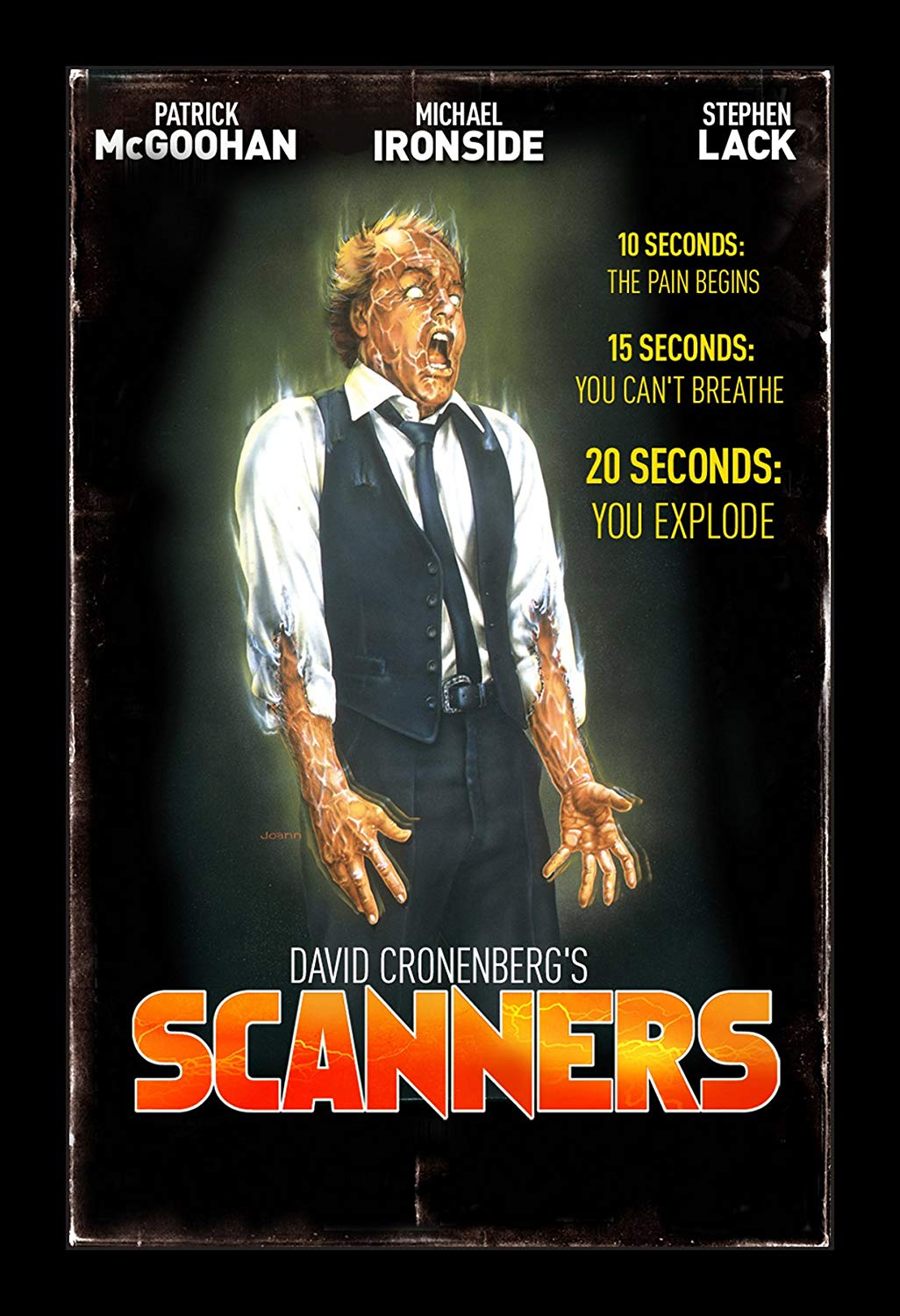 Scanners (1981) - Directed By: David CronenbergStarring: Stephen Lack, Jeniffer O'Neill, Patrick McGoohan, Michael IronsideRated: RRun Time: 1h 43mTMM Score: 5 StarsStrengths: Special Effects, Surreal AtmosphereWeakness: Confusing Plot Thread
