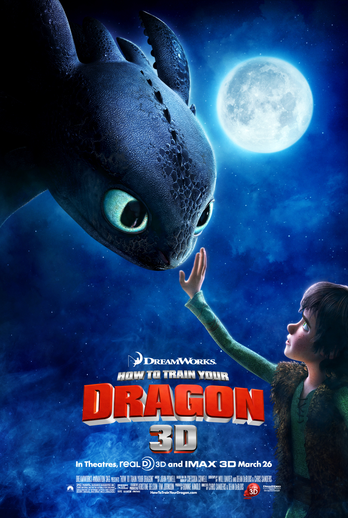 How to Train Your Dragon (2010) - Directed by: Dean DeBlois, Chris SandersStarring: Jay Baruchel, Gerard Butler, Christopher Mintz-Plasse, America Ferrara, Craig Ferguson, Jonah Hill, Kristen Wigg, T.J. Miller, David TennantRated: PG for Sequences of Intense Action and Some Scary Images, and Brief Mild LanguageRunning Time: 1 h 38 mTMM Score: 5 stars out of 5STRENGTHS: Story, Music, Cinematography, Production Design, World Building, ThemesWEAKNESSES: -