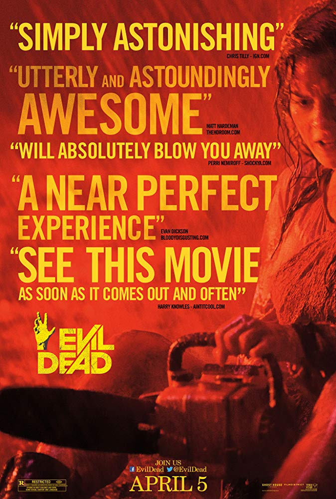 Evil Dead (2013) - Directed by: Fede AlvarezStarring: Jane Levy, Shiloh Fernandez, Lou Taylor Pucci, Jessica Lucas, Elizabeth BlackmoreRated: R for Strong Bloody Violence and Gore, Some Sexual Content and LanguageRunning Time: 1 h 37 mTMM Score: 3 stars out of 5STRENGTHS: Practical Effects, Atmosphere, ThemesWEAKNESSES: Thin Story, Acting
