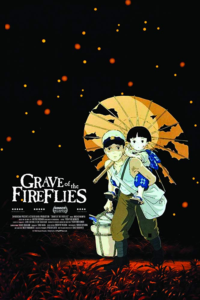 Grave of the Fireflies (1988) - Directed by: Isao TakahataStarring: Tsutomu Tatsumi, Ayano Shiraishi, Yoshiko Shinohara, Akemi YamaguchiRated:NR (Suggested PG-13 for Disturbing Content and Images)Running Time: 1 h 29 mTMM Score: 5 stars out of 5STRENGTHS: Story, Perspective, Animation, ThemesWEAKNESSES: Pacing