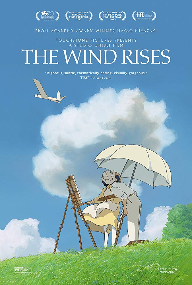 The Wind Rises (2013) - Directed By: Hayao MiyazakiStarring: Hideaki Anno, Hidetoshi Nishijima, Miori TakimotoRated: PG-13Run Time: 2h 6mTMM Score: 4 StarsStrengths: Animation, Main CharacterWeakness: Not Enough Time Spent on Early Love Story