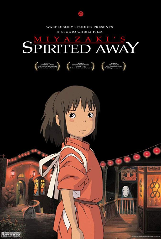 Spirited Away (2001) - Directed by: Hayao Miyazaki, Kirk WiseStarring: Rumi Hiiragi, Miyu Irino, Mari NatsukiRated: PG for Some Scary MomentsRunning Time: 2 h 5 mTMM Score: 5 stars out of 5STRENGTHS: Animation, Story, Characters, Fun, WorldbuildingWEAKNESSES: -