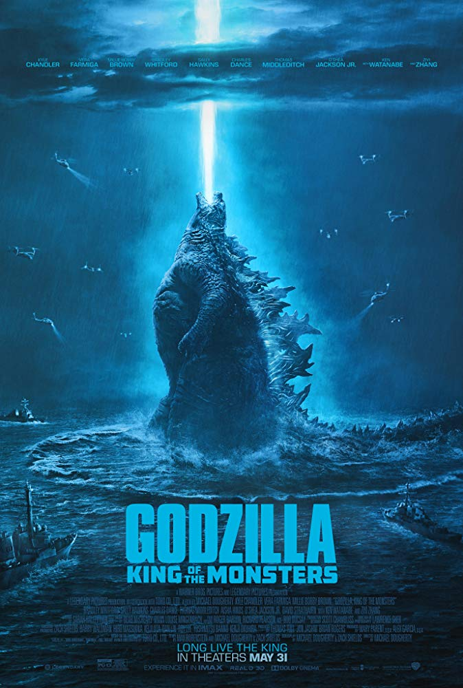 Godzilla: King of the Monsters (2019) - Directed by: Michael DoughertyStarring: Kyle Chandler, Vera Farmiga, Millie Bobby Brown, Ken Watanabe, Ziyi Zhang, Bradley Whitford, Charles Dance, Thomas Middleditch, Sally Hawkins, O'Shea Jackson Jr.Rated: PG-13 for Sequences of Monster Action Violence and Destruction, and For Some LanguageRunning Time: 2 h 11 mTMM Score: 2.5 stars out of 5STRENGTHS: Kaiju Stuff, Special Effects, FunWEAKNESSES: People Stuff, Story, Plot Holes Galore, Harebrained Schemes and Ideas, Dialogue