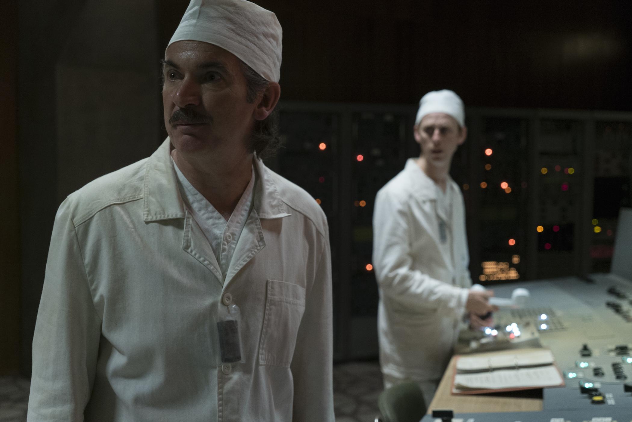 Paul Ritter (left) as Anatoly Dyatlov and Robert Emma (right) as Leonid Toptunov.