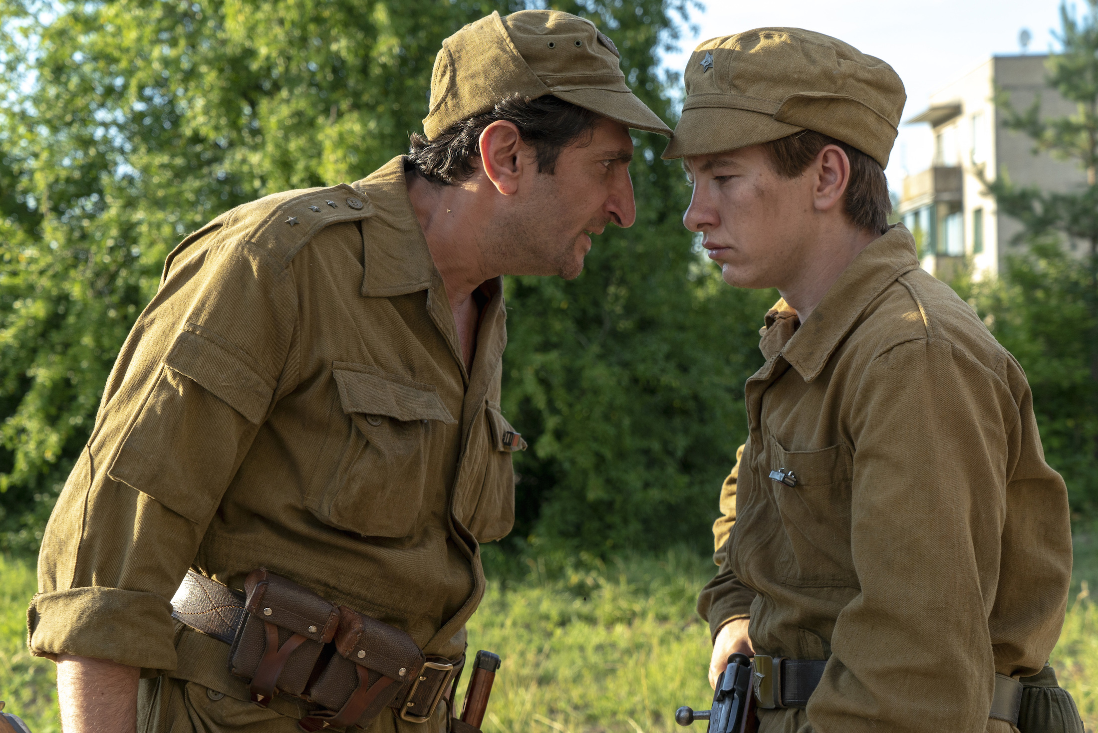 """Fares Fares (""""Zero Dark Thirty"""") (left) as Bacho and Barry Keoghan as Pavel."""